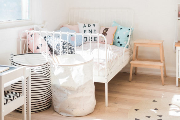 Scandinavian shared kids room - light-filled, pastel baby + toddler playroom | Happy Grey Lucky
