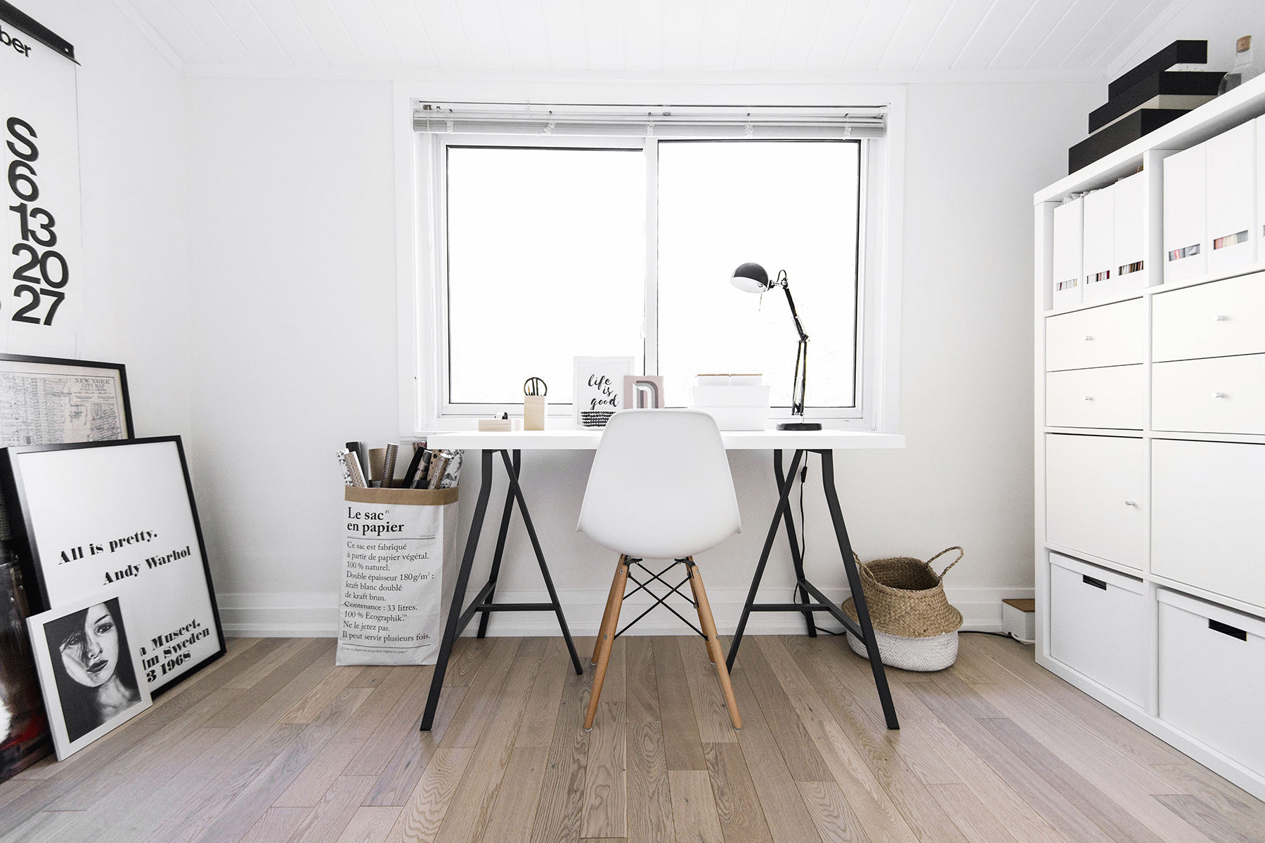 House tour a small scandinavian inspired office happy for Office design nordic