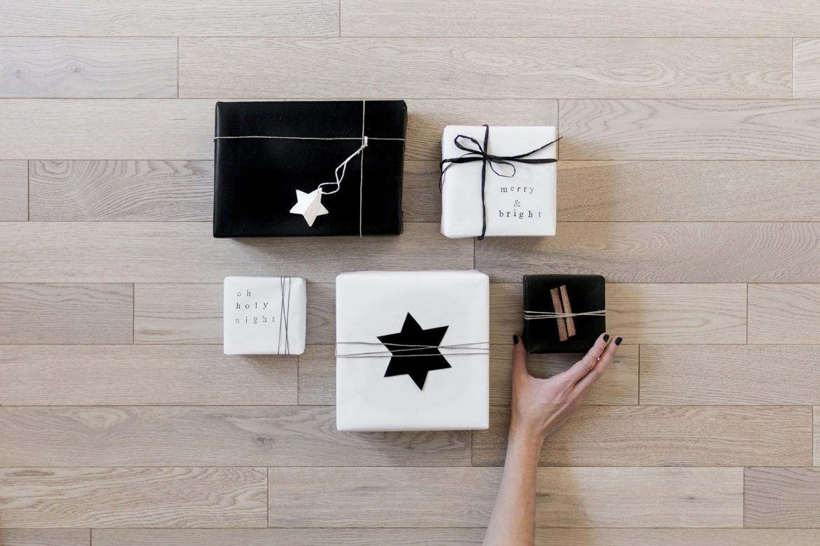 Simple + modern DIY gift wrapping inspiration - black + white, monochrome | Happy Grey Lucky