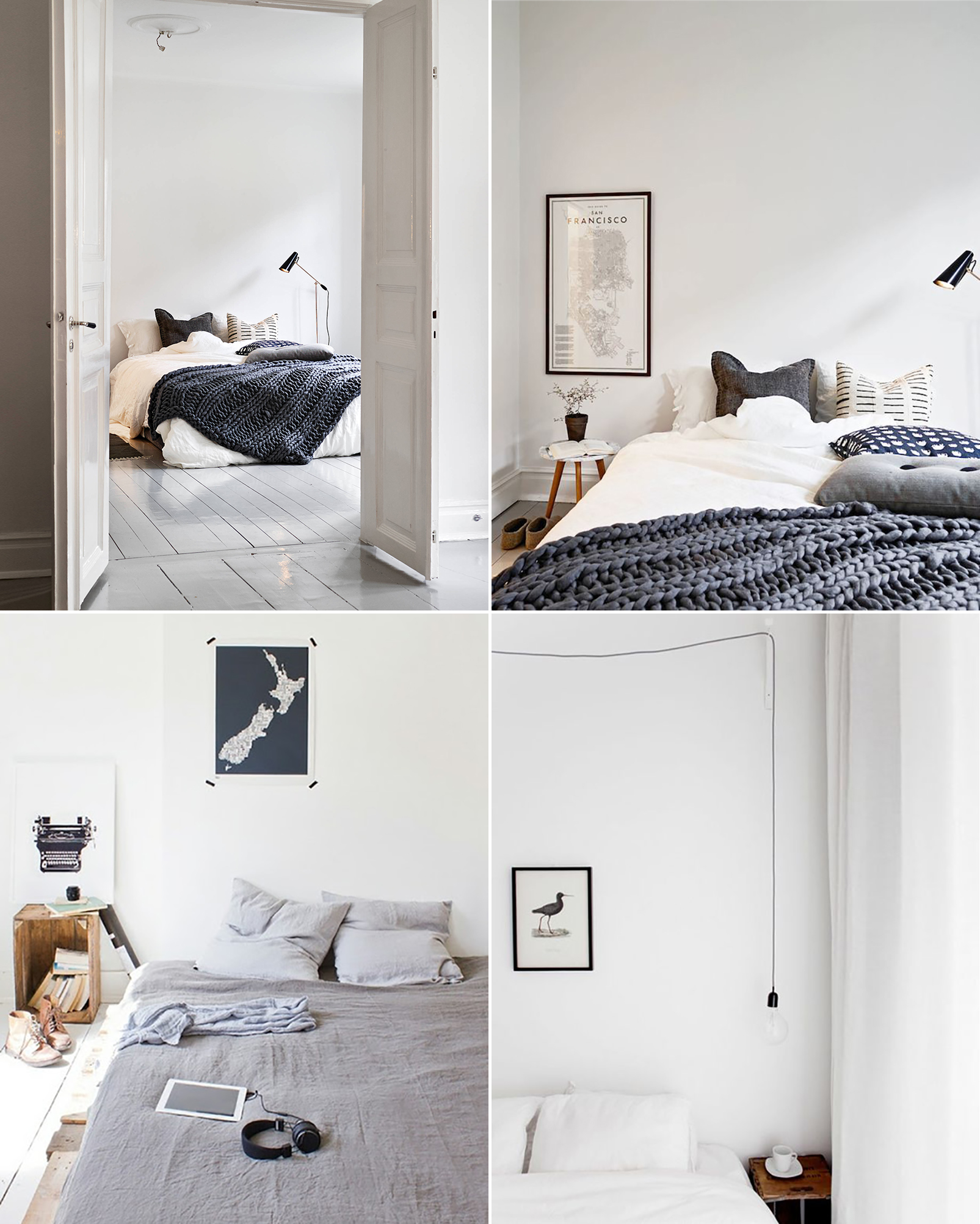 Scandinavian bedroom inspiration white grey simple minimalist natural wood
