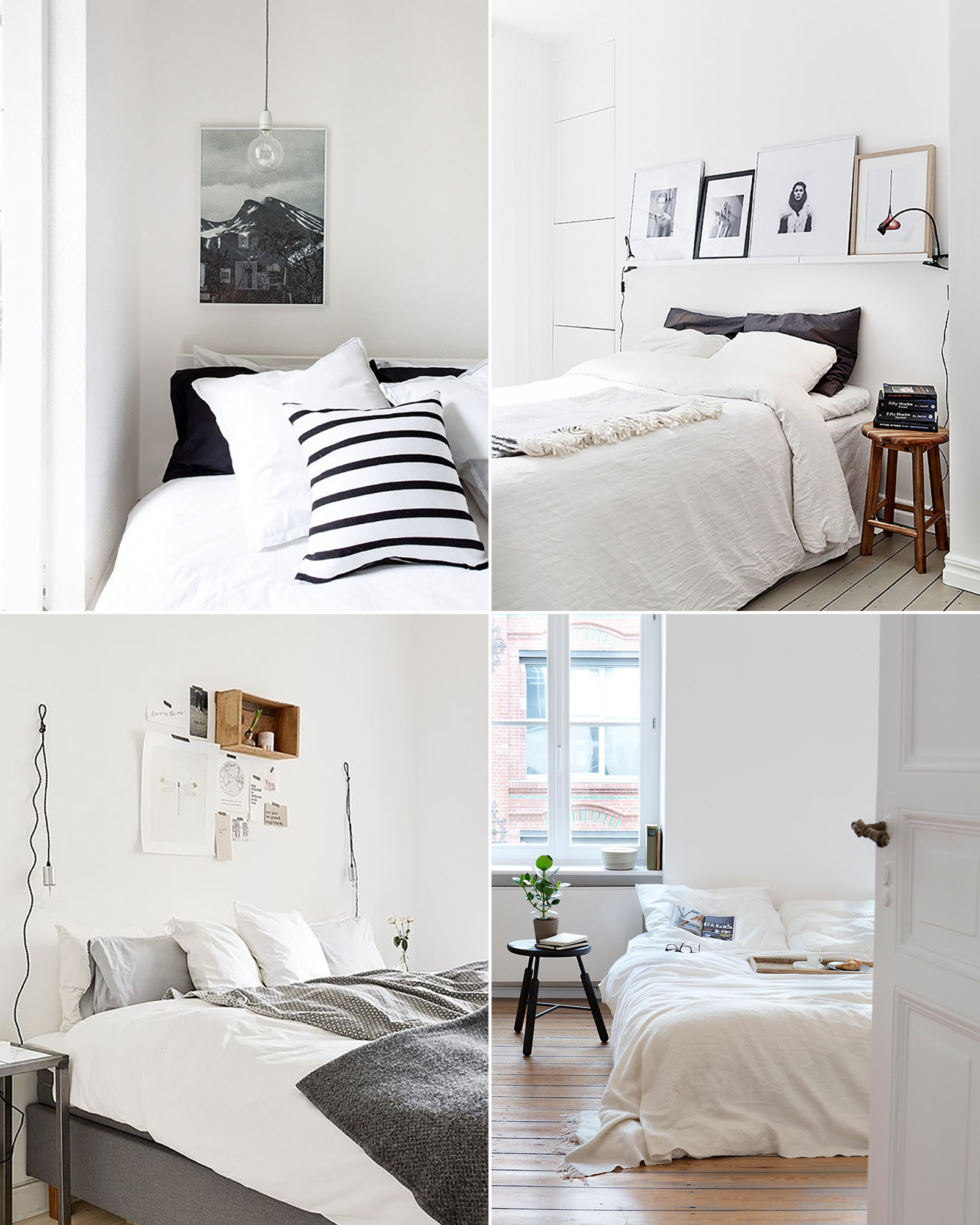 Scandinavian bedroom inspiration - white, grey, simple, minimalist, natural wood
