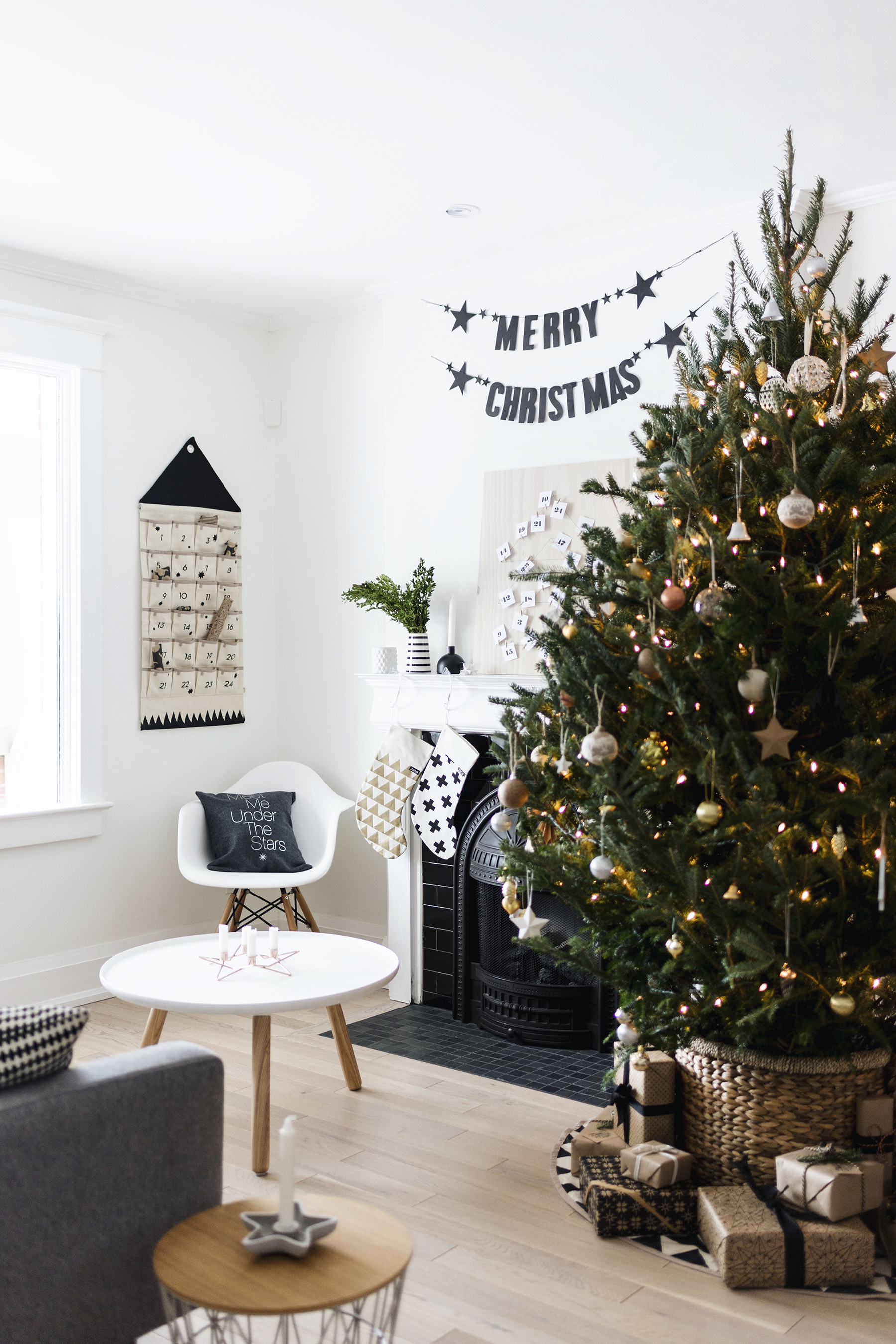 Scandinavian Christmas tree + decor - stockings, banner | Happy Grey Lucky