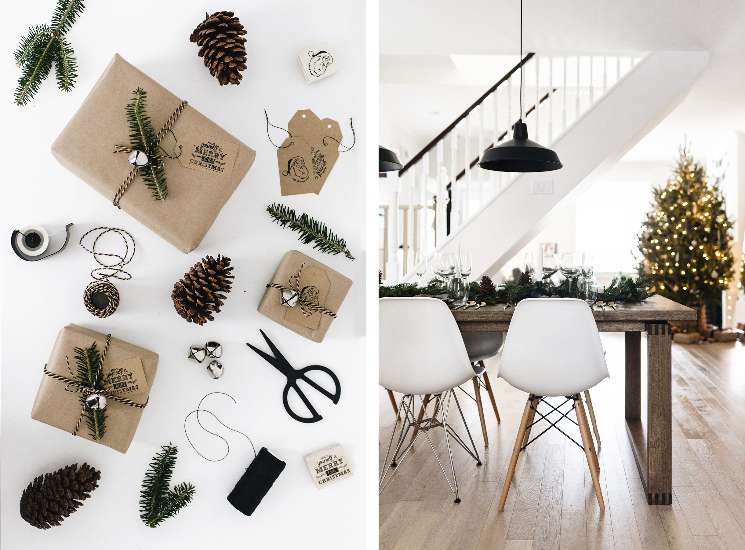 Scandinavian Christmas decor - gift wrap + dining room | Happy Grey Lucky