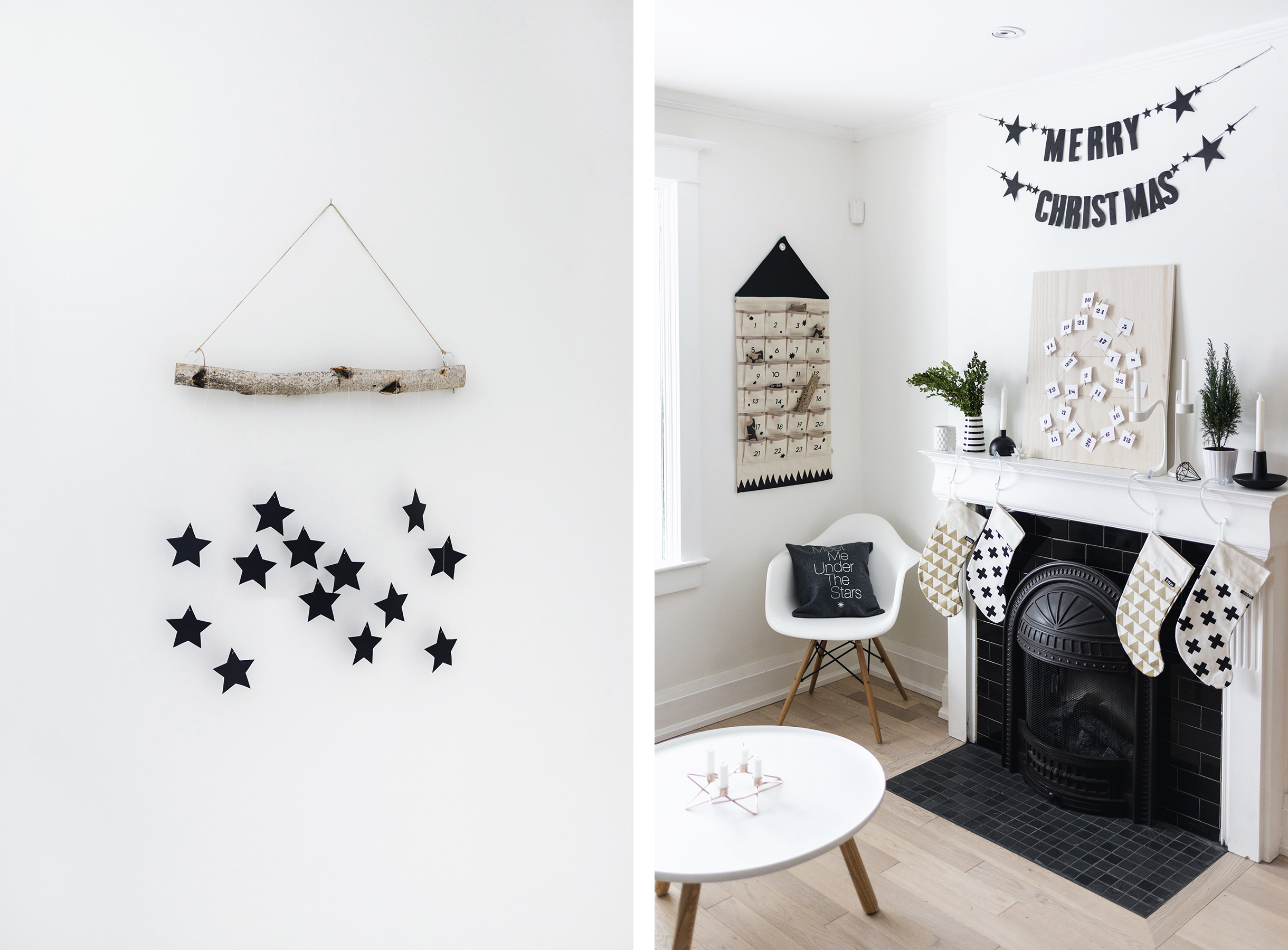 Scandinavian Christmas decor - wall hanging + fireplace with advent calendar | Happy Grey Lucky