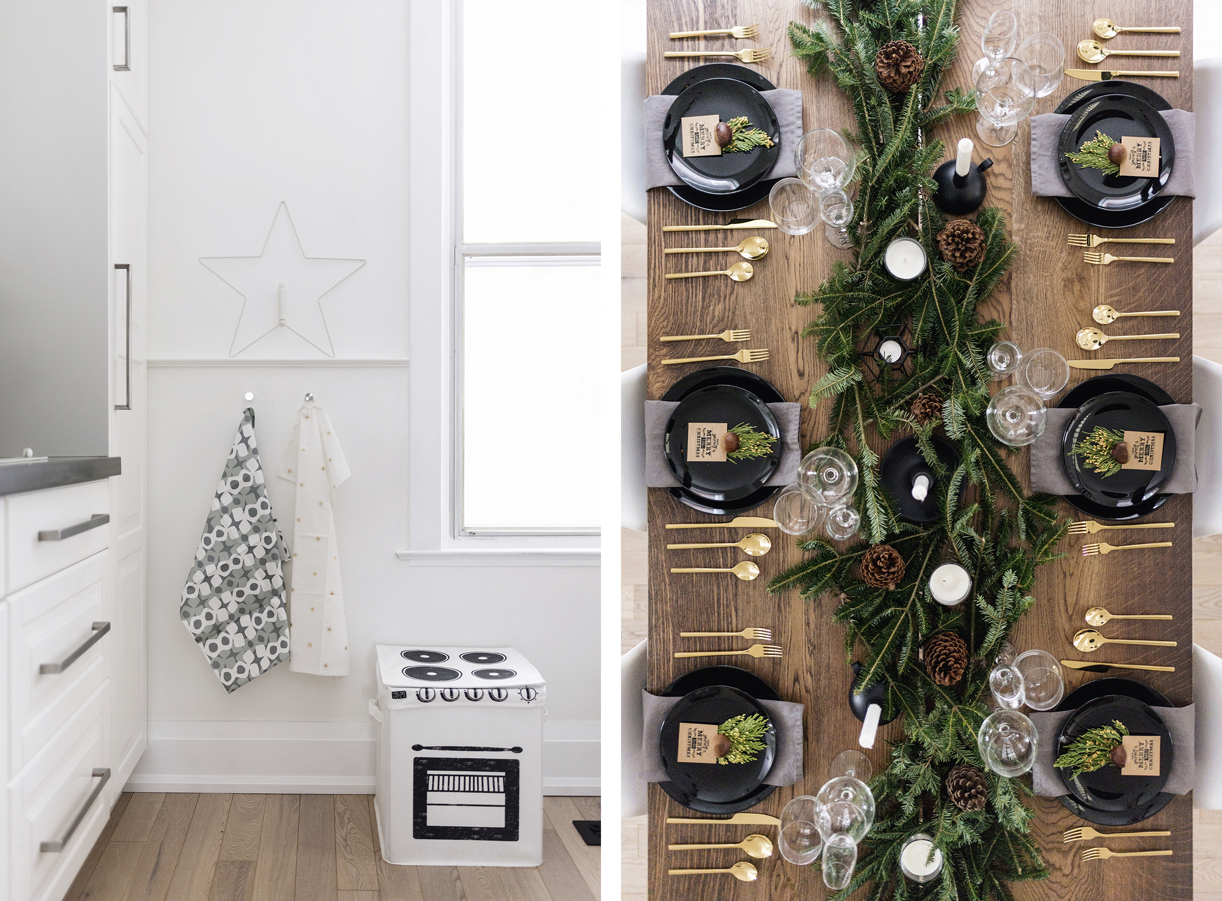 Scandinavian Christmas decor - kitchen + tablescape | Happy Grey Lucky