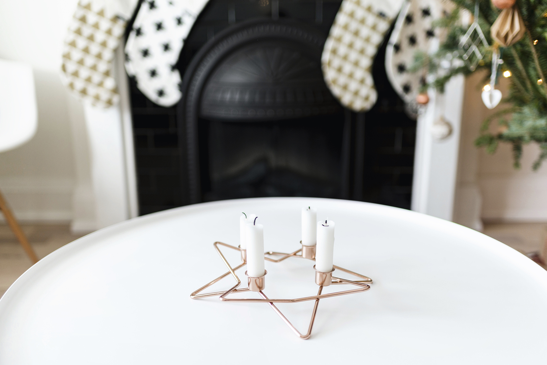 Scandinavian Christmas decor - copper advent candleholder | Happy Grey Lucky