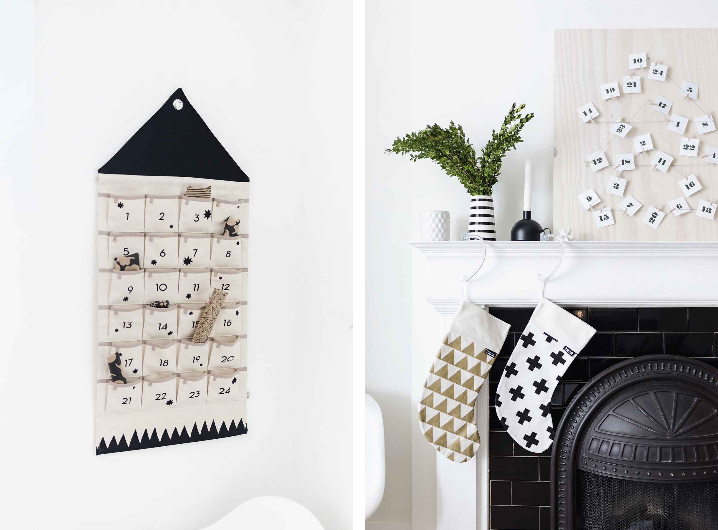 Scandinavian Christmas decor - Ferm Living advent calendar + Zana stockings | Happy Grey Lucky