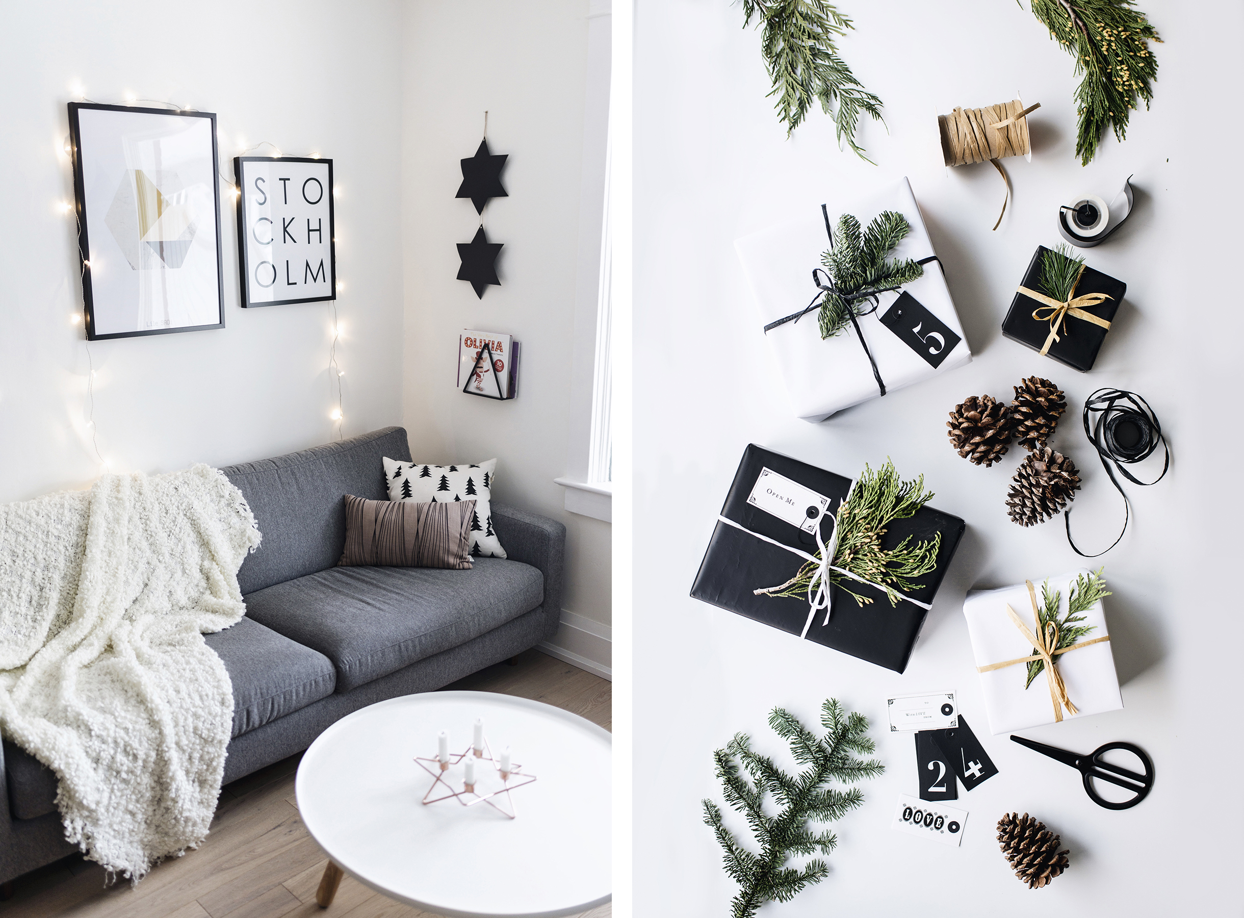 Scandinavian Christmas decor - living room + postal paper gift wrap | Happy Grey Lucky