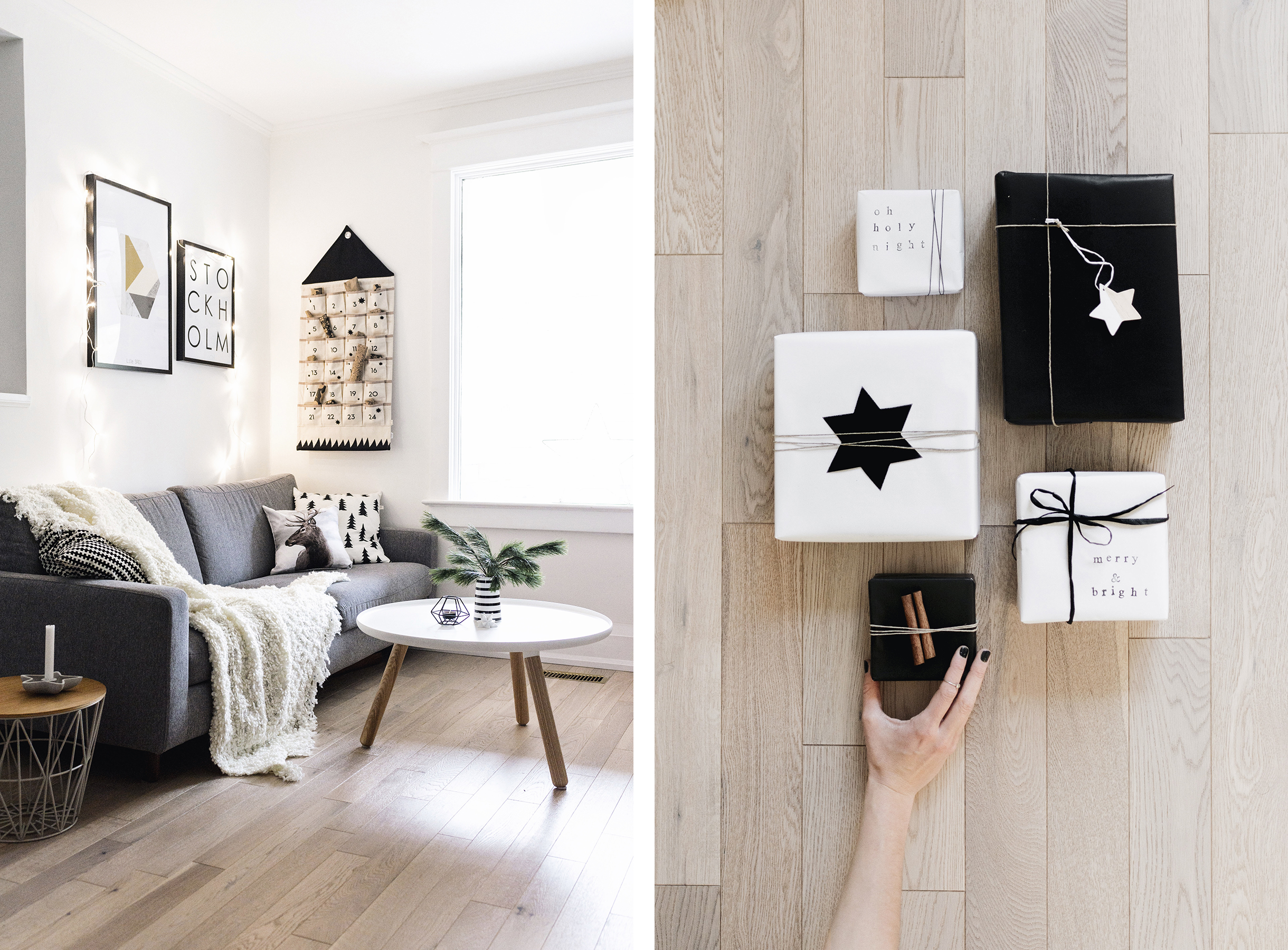 Scandinavian Christmas decor - living room with Ferm Living calendar + monochrome gift wrap | Happy Grey Lucky
