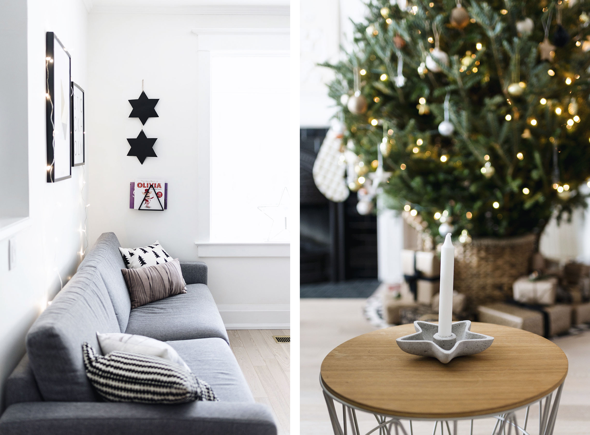Scandinavian Christmas decor - star geometric details | Happy Grey Lucky