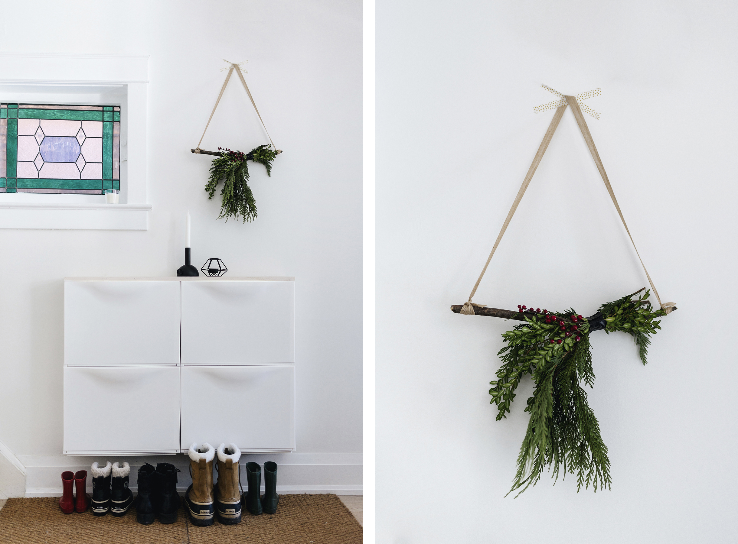 Scandinavian Christmas evergreen wall hanging | Happy Grey Lucky