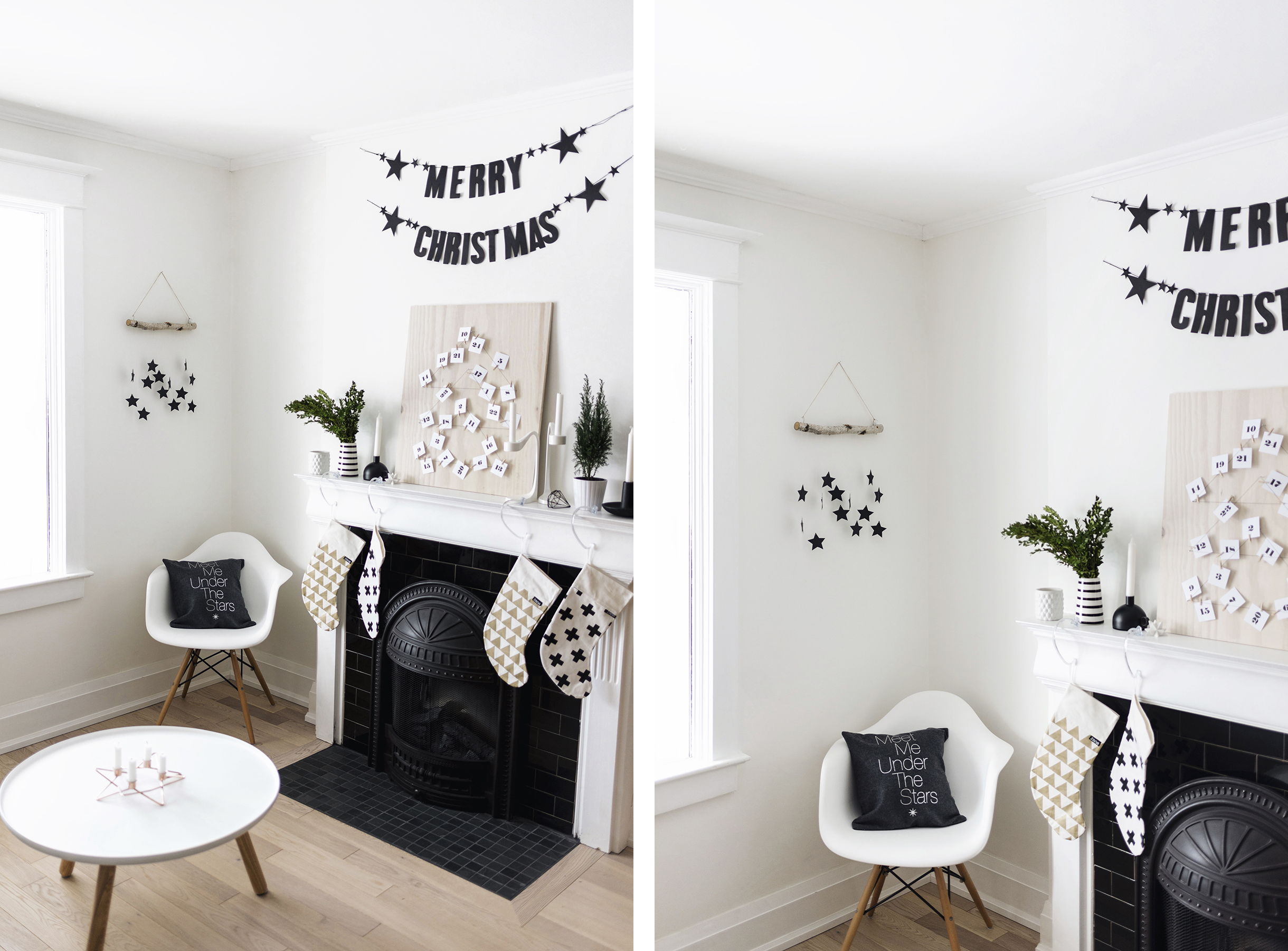 DIY modern, Scandinavian Christmas hanging wall decoration | Happy Grey Lucky
