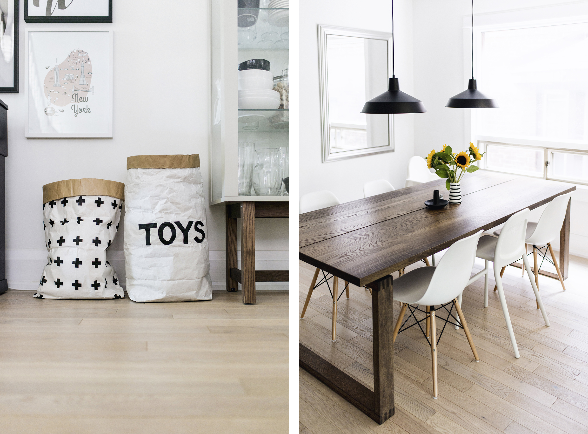 Scandinavian-inspired dining room - paper bag toy storage, Mörbylånga table, Eames chairs, black warehouse pendant lamps | Happy Grey Lucky