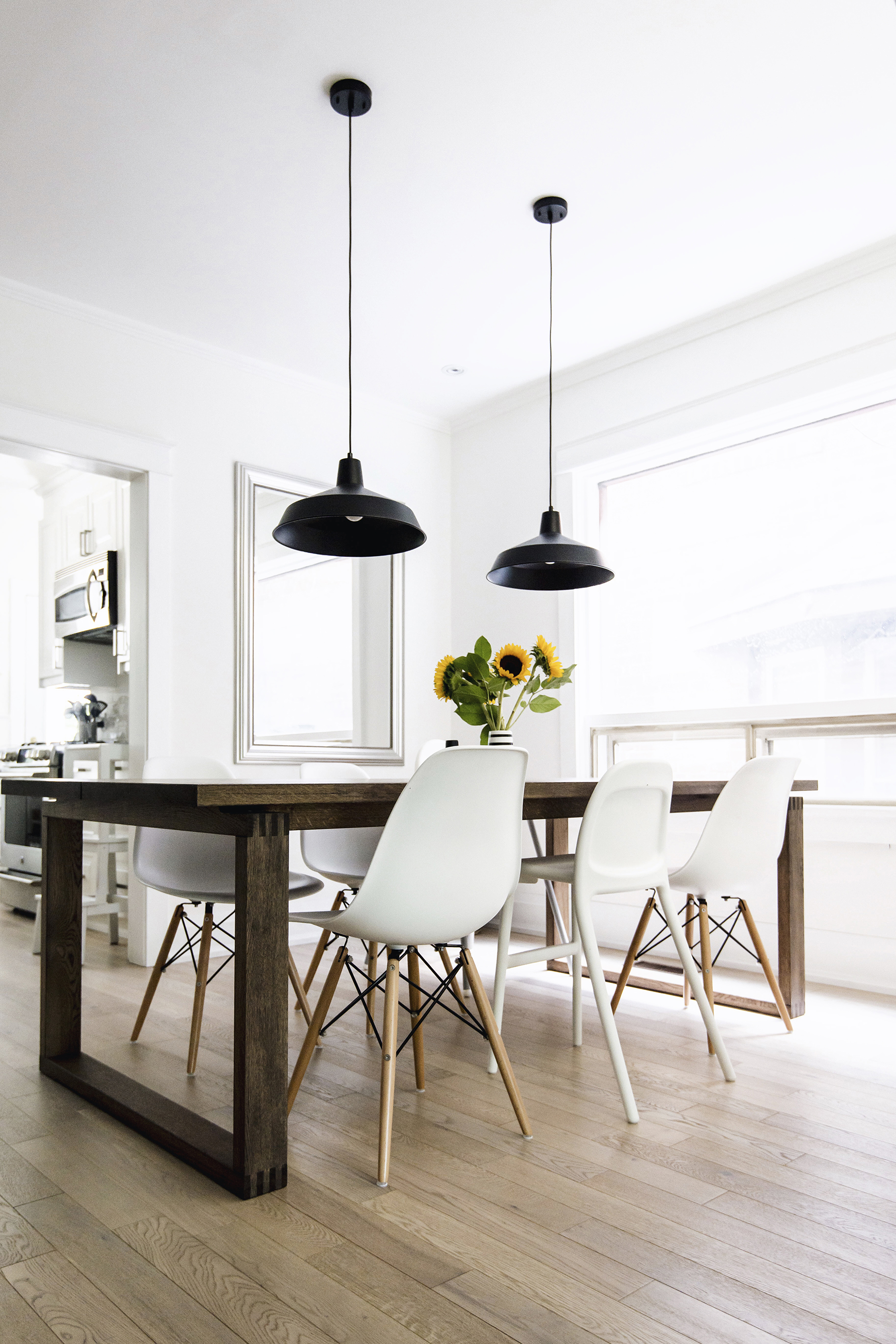 Scandinavian inspired dining room   M rbyl nga table  Eames chairs  black  warehouse pendant lamps. House Tour  Dining Room   Happy Grey Lucky