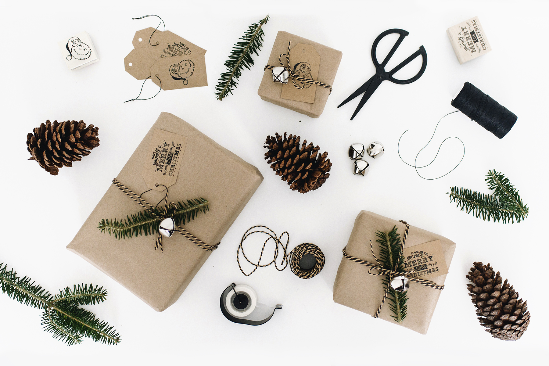 Simple + natural DIY gift wrapping inspiration with postal paper + greenery | Happy Grey Lucky