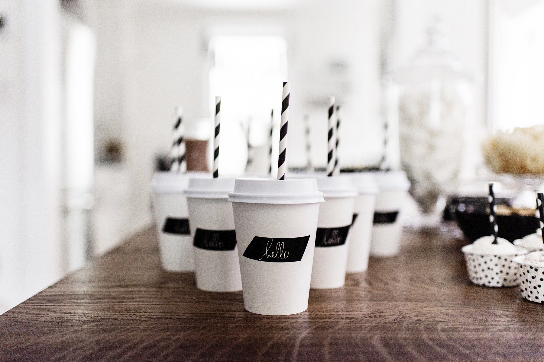 Kids birthday party drinks, black + white / monochrome, first birthday | Happy Grey Lucky