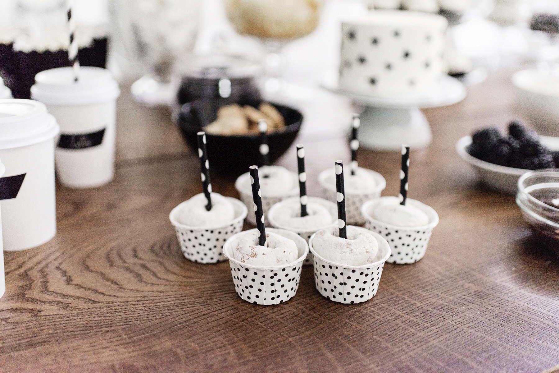 Kids birthday party dessert + snack table, black + white / monochrome, first birthday | Happy Grey Lucky