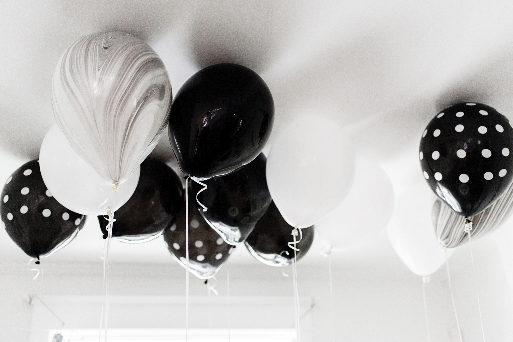 Kids birthday party balloons, black + white / monochrome, first birthday | Happy Grey Lucky