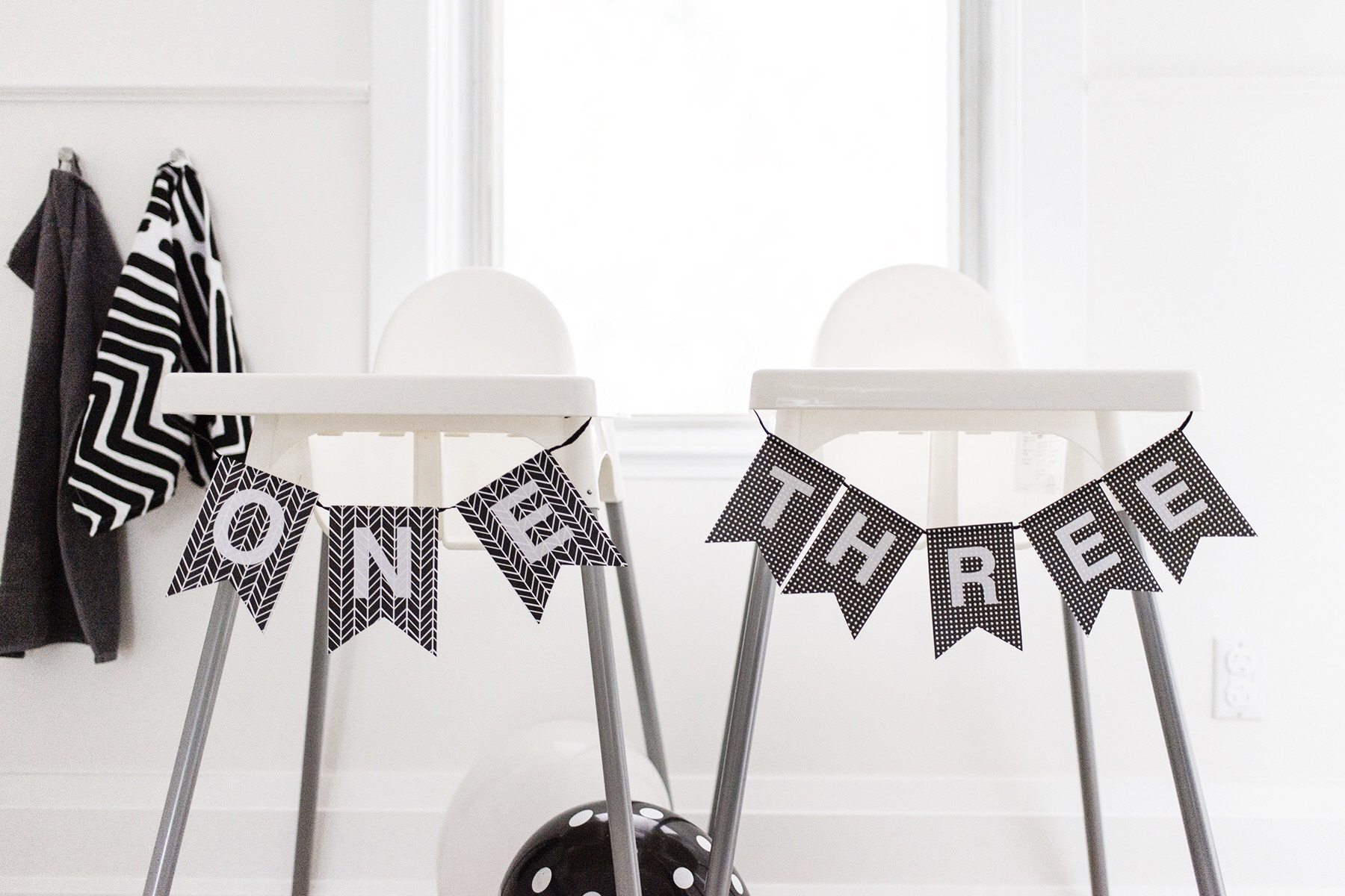 Kids birthday party high chair banner, black + white / monochrome, first birthday | Happy Grey Lucky