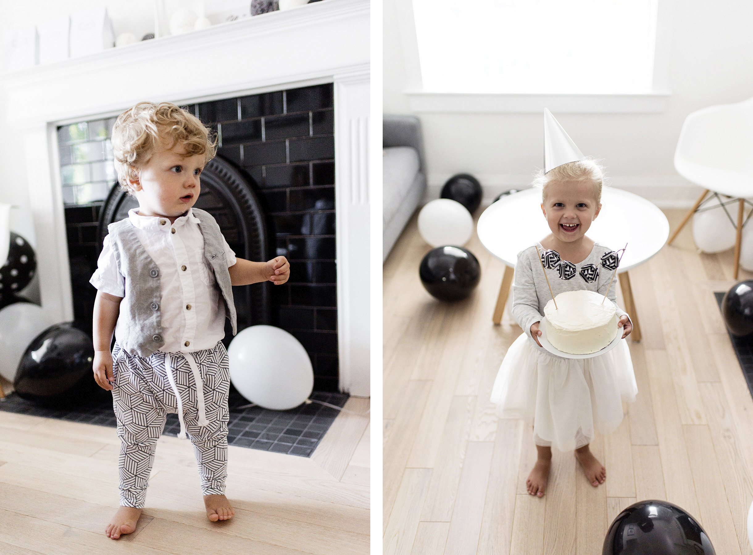 Kids birthday party outfits, black + white / monochrome, first birthday | Happy Grey Lucky