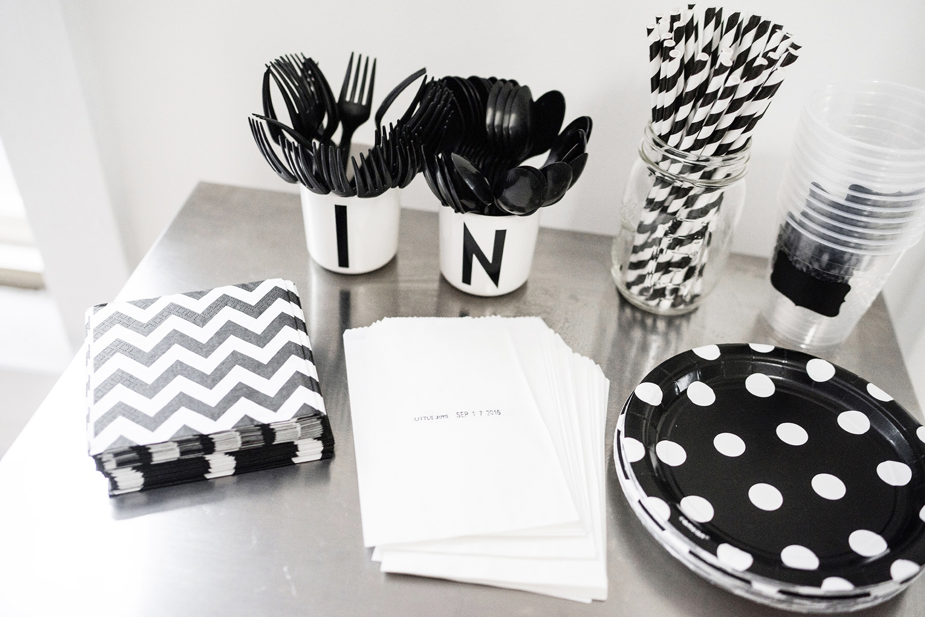 Kids Birthday Party Black White Monochrome First