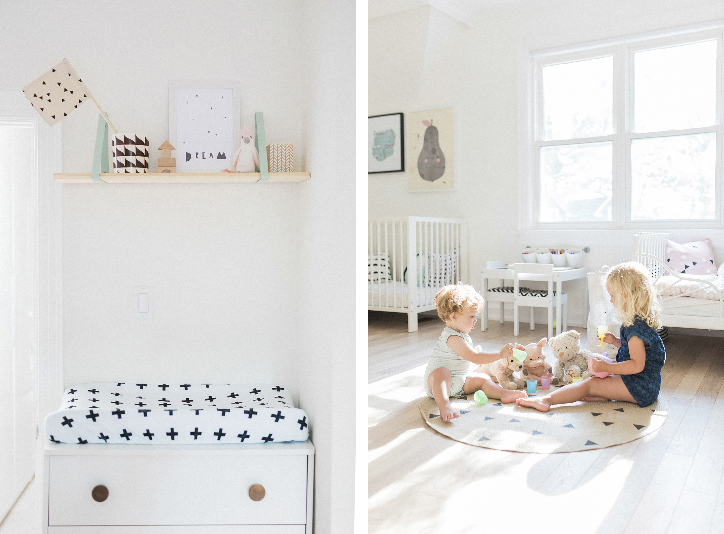 Scandinavian shared kids room - light-filled, pastel baby + toddler playroom - Ferm Living shelf brackets + round carpet | Happy Grey Lucky