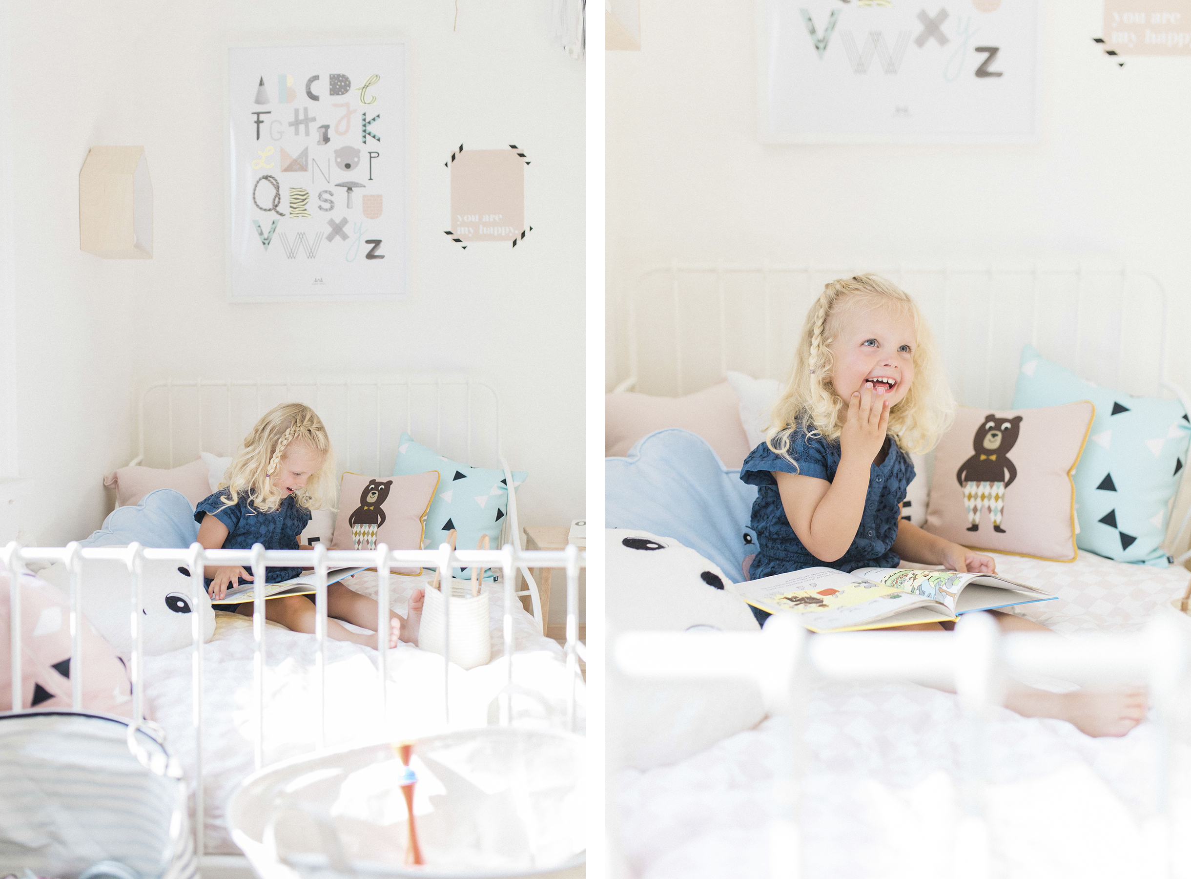 Scandinavian shared kids room - light-filled, pastel baby + toddler playroom - Ikea Minnen bed | Happy Grey Lucky