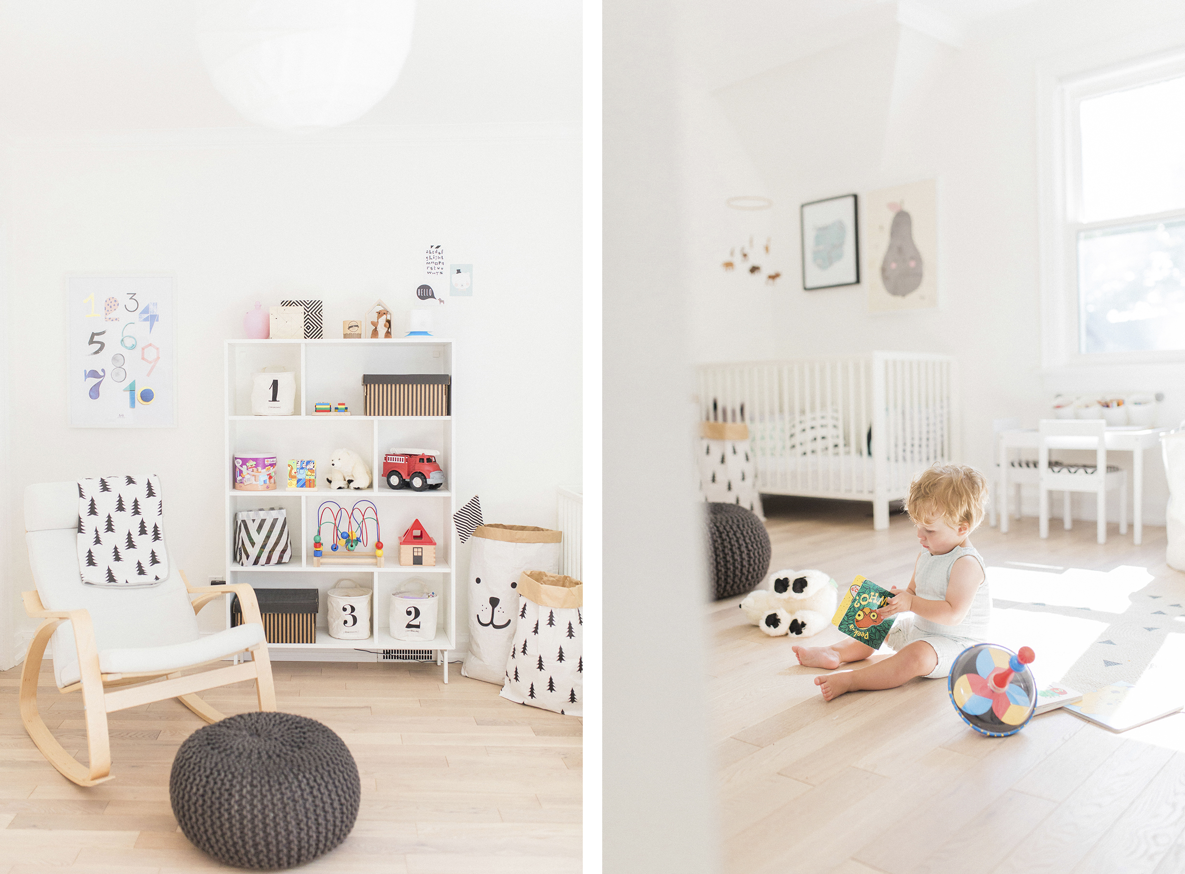 Scandinavian shared kids room - light-filled, pastel baby + toddler playroom - Ikea POÄNG rocker, VALJE shelf, CB2 pouf | Happy Grey Lucky