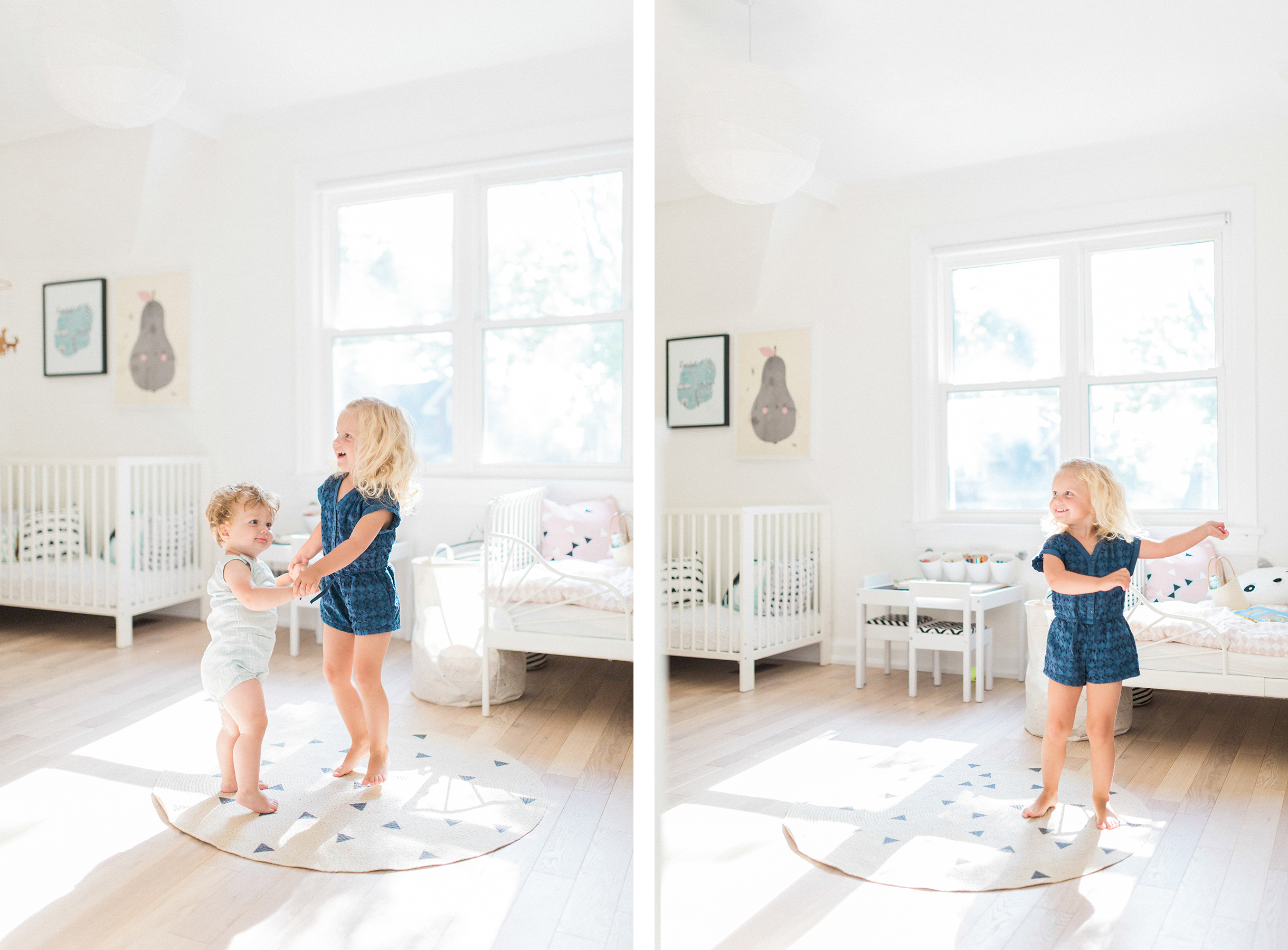 Scandinavian shared kids room - light-filled, pastel baby + toddler playroom - Ferm Living round rug | Happy Grey Lucky