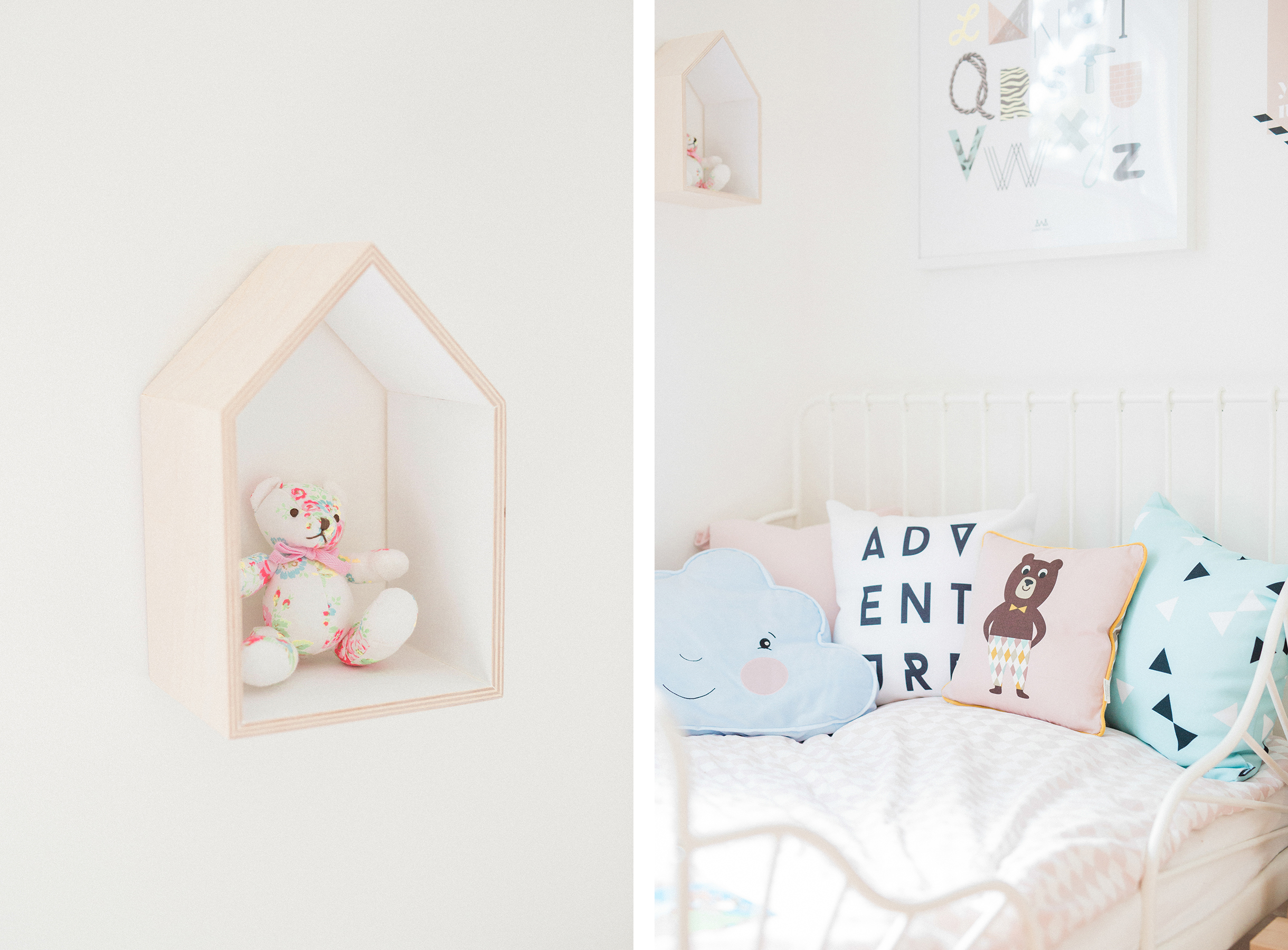 Scandinavian shared kids room - light-filled, pastel baby + toddler playroom - Ikea Minnen bed + Etsy house wall shelf | Happy Grey Lucky