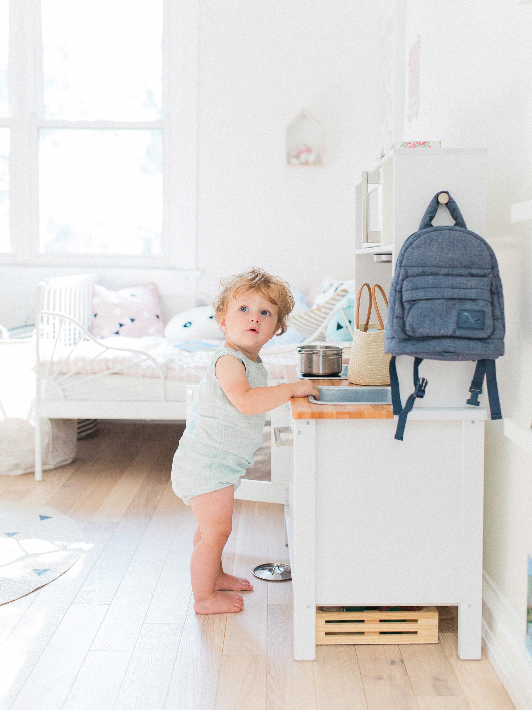 A modern, pastel shared baby and toddler room | Happy Grey Lucky
