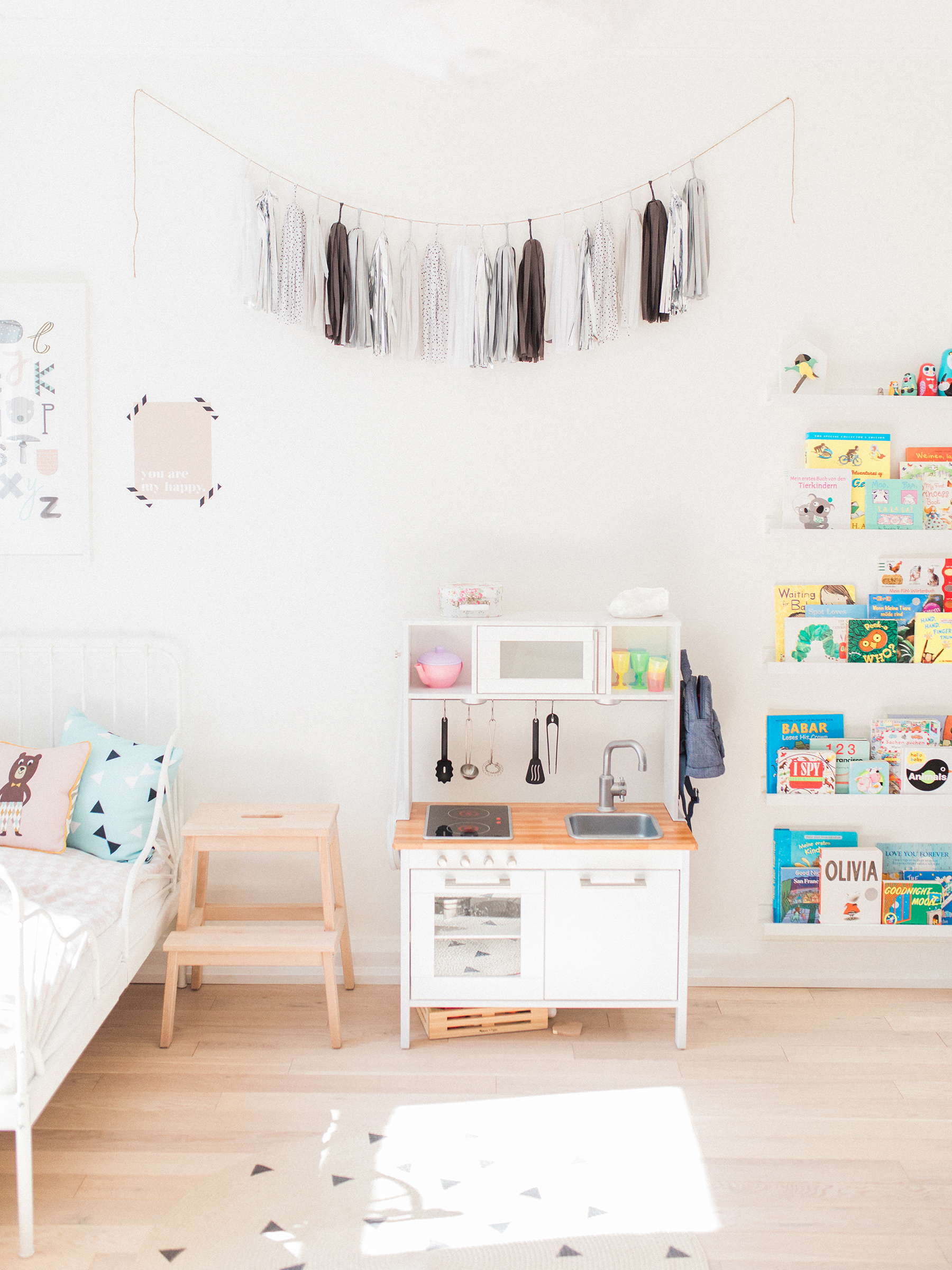 Ikea Hack play kitchen in Scandinavian shared kids room - light-filled, pastel baby + toddler playroom | Happy Grey Lucky