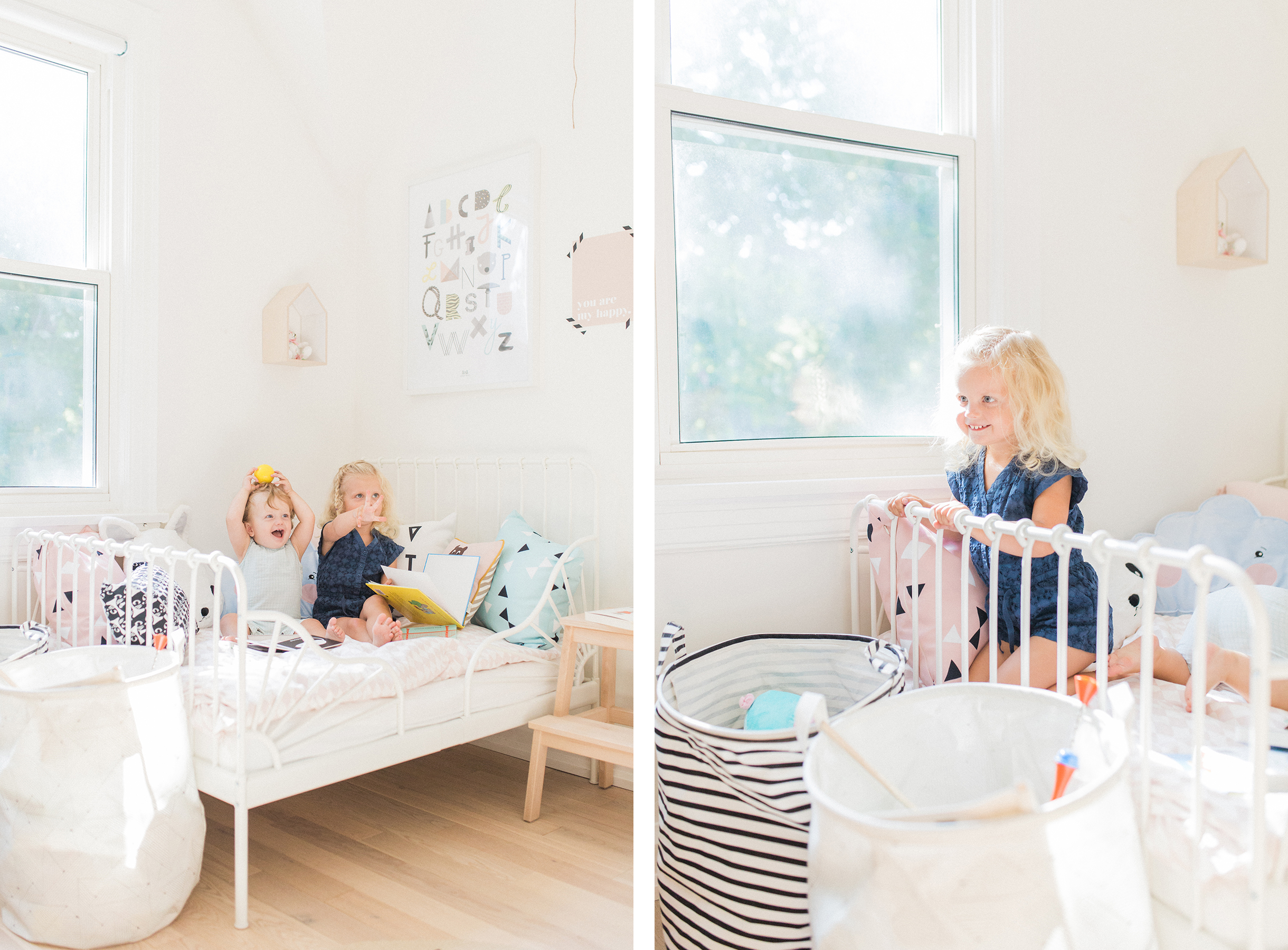 Scandinavian shared kids room - light-filled, pastel baby + toddler playroom - Ikea Minnen bed, House Doctor storage baskets | Happy Grey Lucky