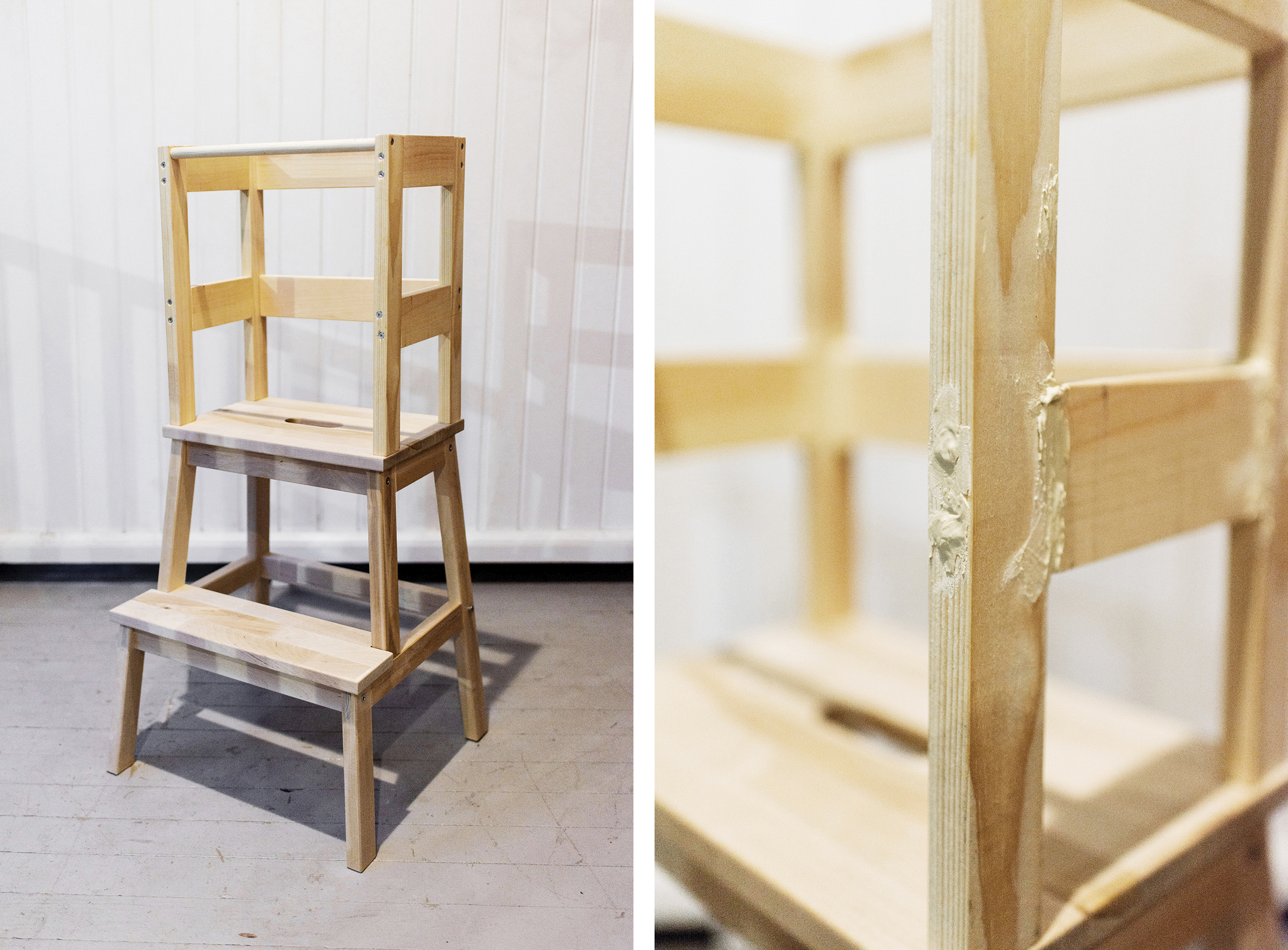 ikea hack toddler learning tower using a bekv m stool tutorial