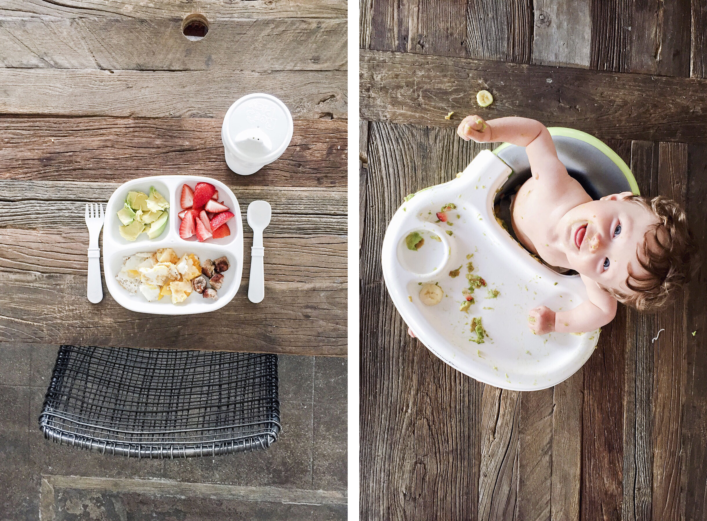 Messy baby eating, solo travel with a baby & toddler | Happy Grey Lucky