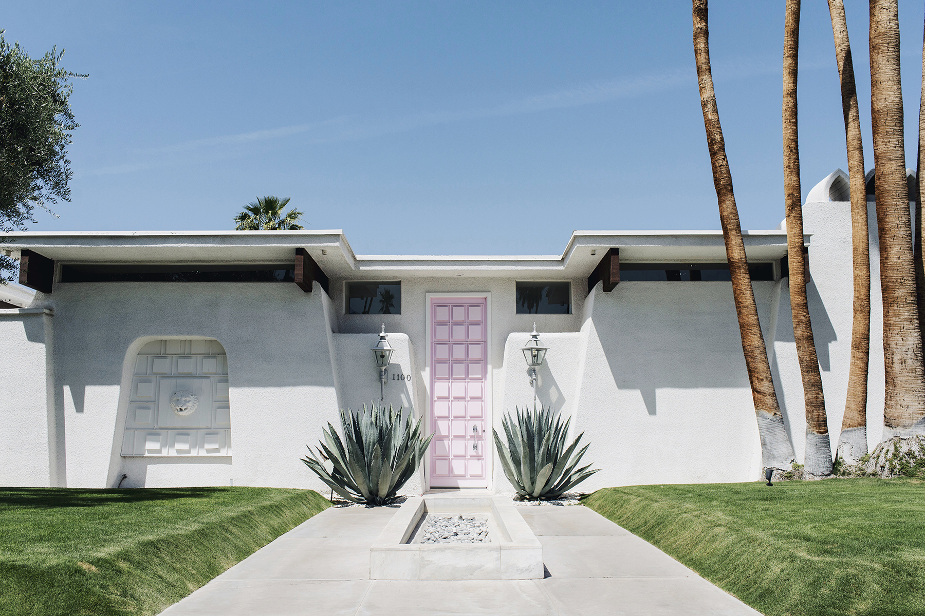 Pink door house Palm Springs, California family travel with baby & toddler | Happy Grey Lucky