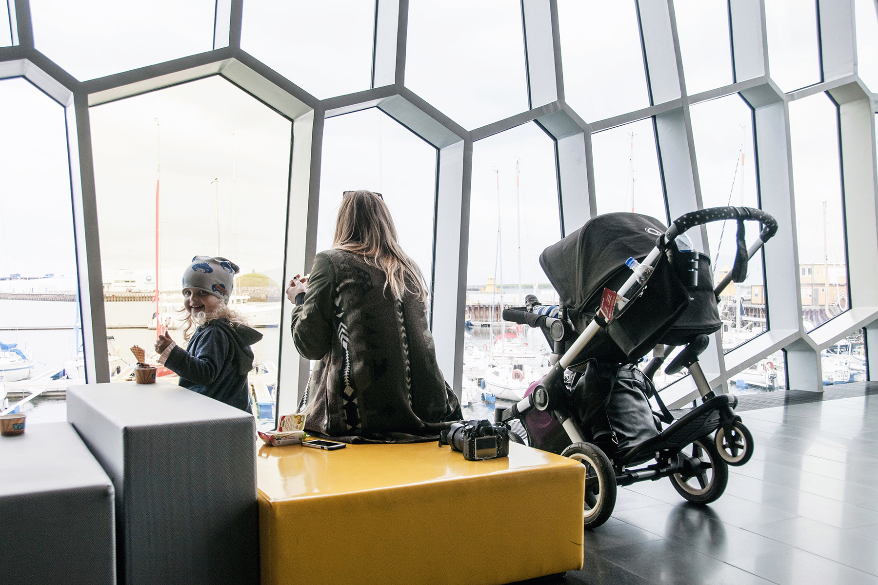 Harpa Concert Hall in Reykjavik, Iceland with young kids - family travel with a baby & toddler | Happy Grey Lucky