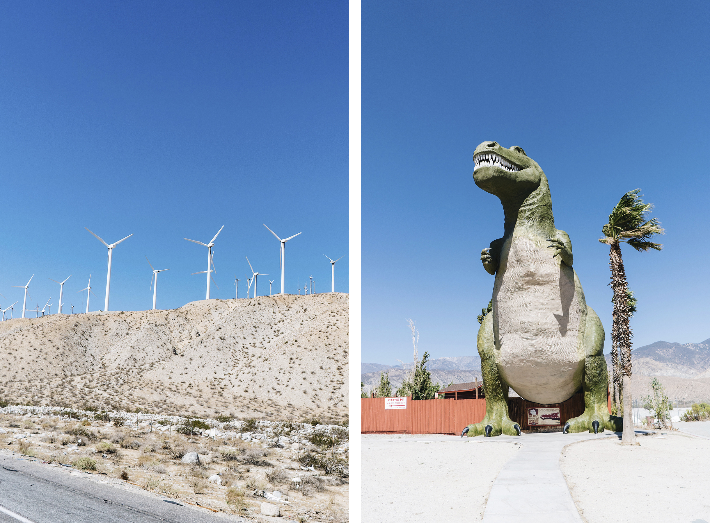 California Mojave desert windmills + Cabazon dinosaurs | Sisters Trip to California | Happy Grey Lucky
