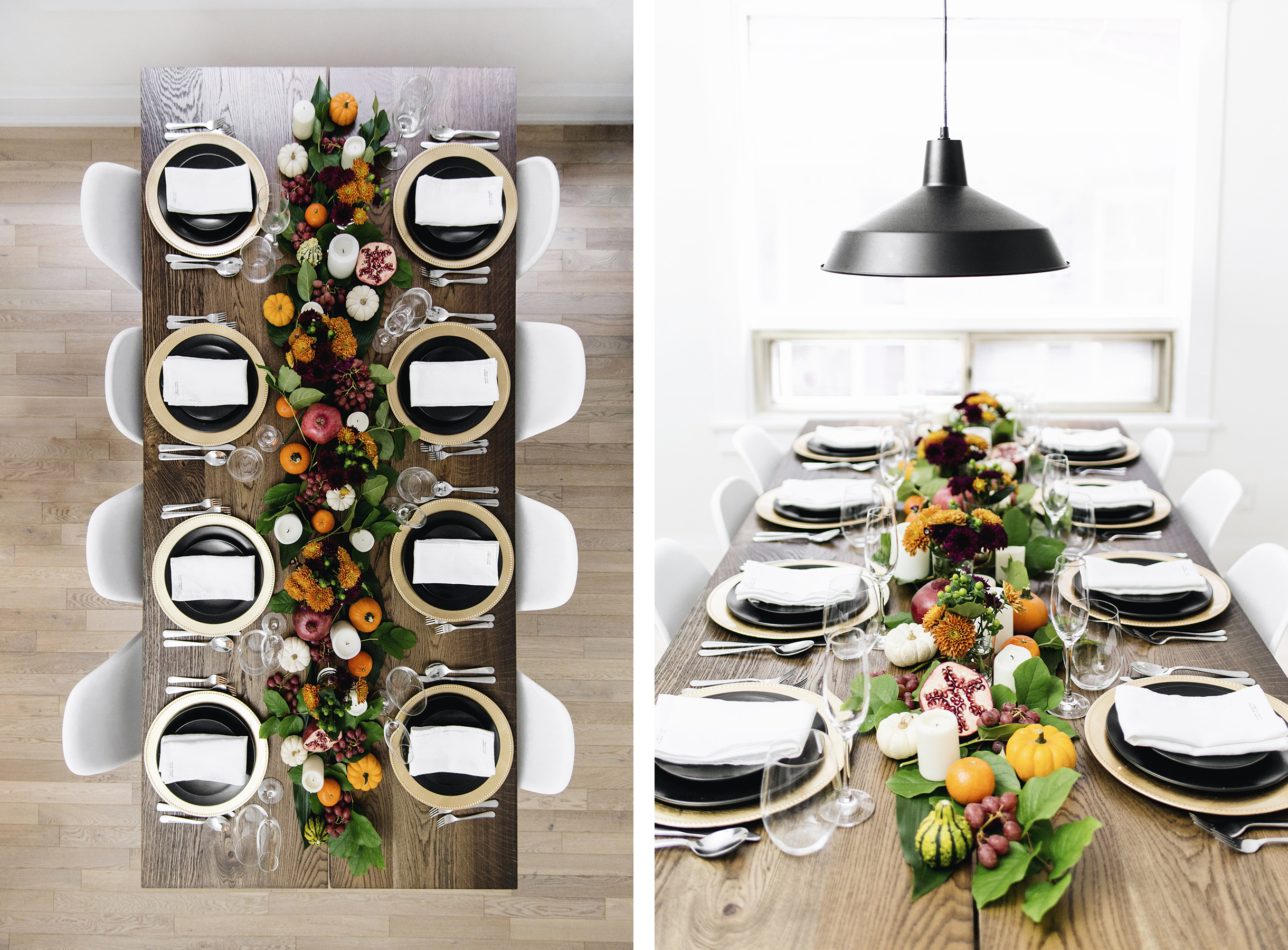 Fall & thanksgiving tablescape, festive colors - orange, burgundy + green | Happy Grey Lucky