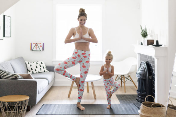 Matching mommy and me yoga leggings - flamingo by Flexi Lexi | Happy Grey Lucky