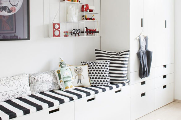 Scandinavian family room inspiration - a combined TV and playroom   Happy Grey Lucky