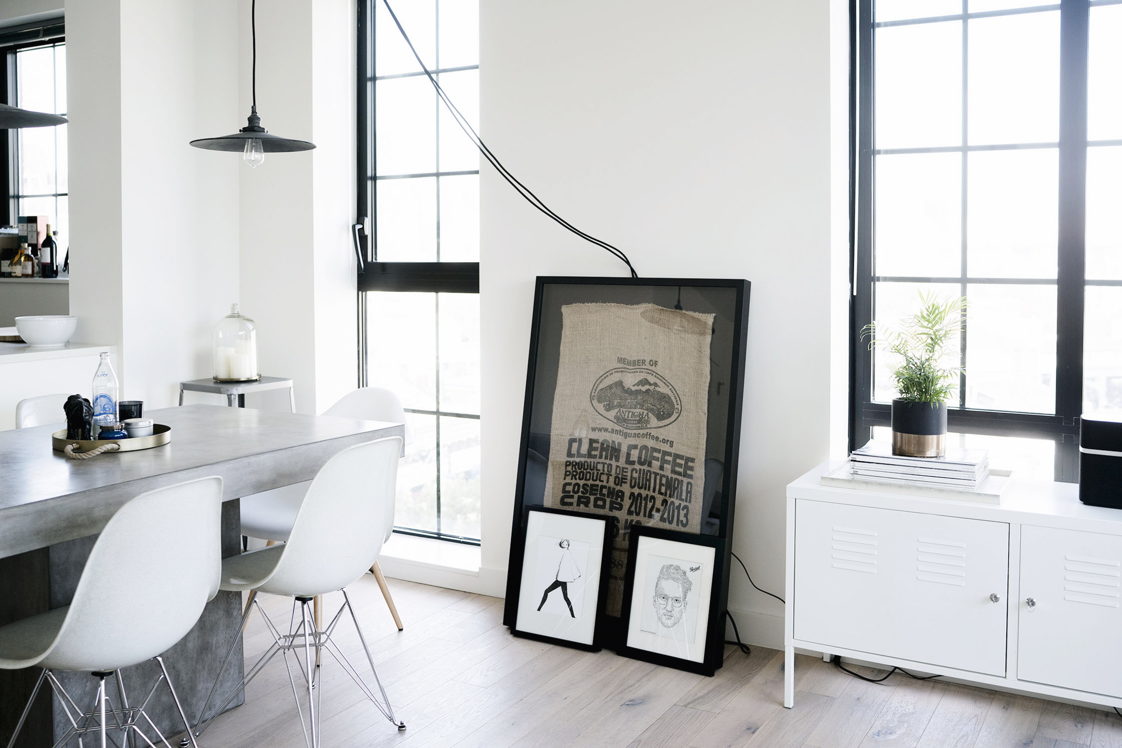 A scandinavian industrial interior in nyc happy grey lucky for Decor house interiors