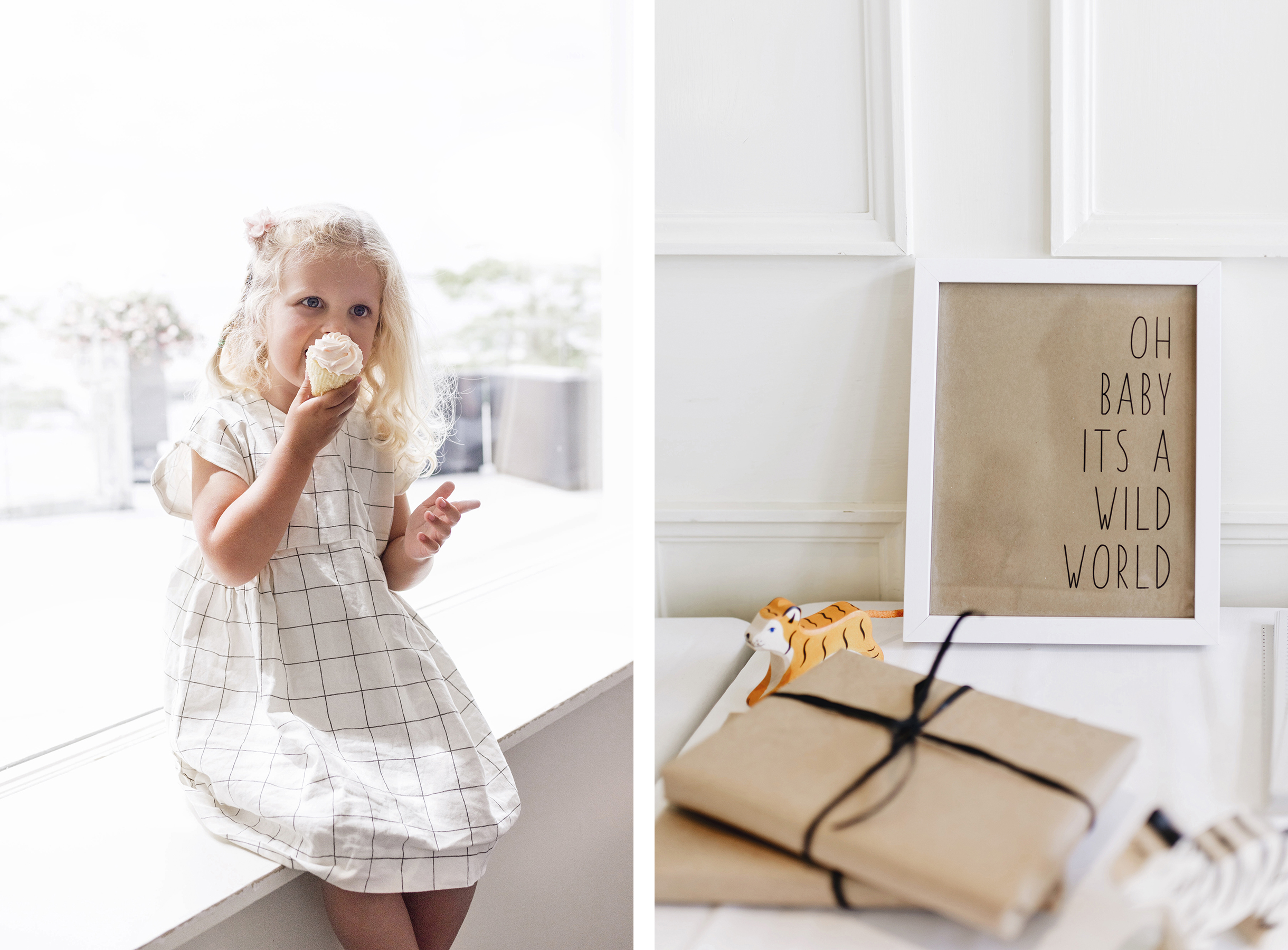Girl eating cupcake and oh baby its a wild world sign | A wild + boho baby shower with pastel colours + rustic details