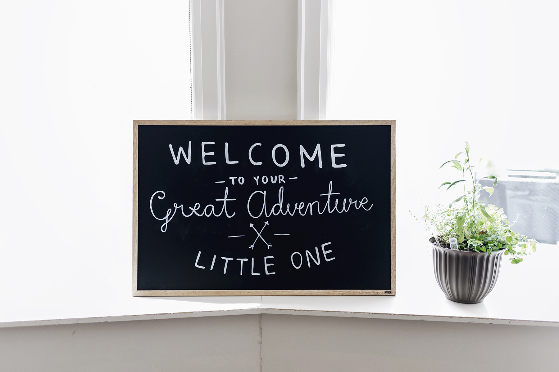 Chalkboard sign | A wild + boho baby shower with pastel colours + rustic details