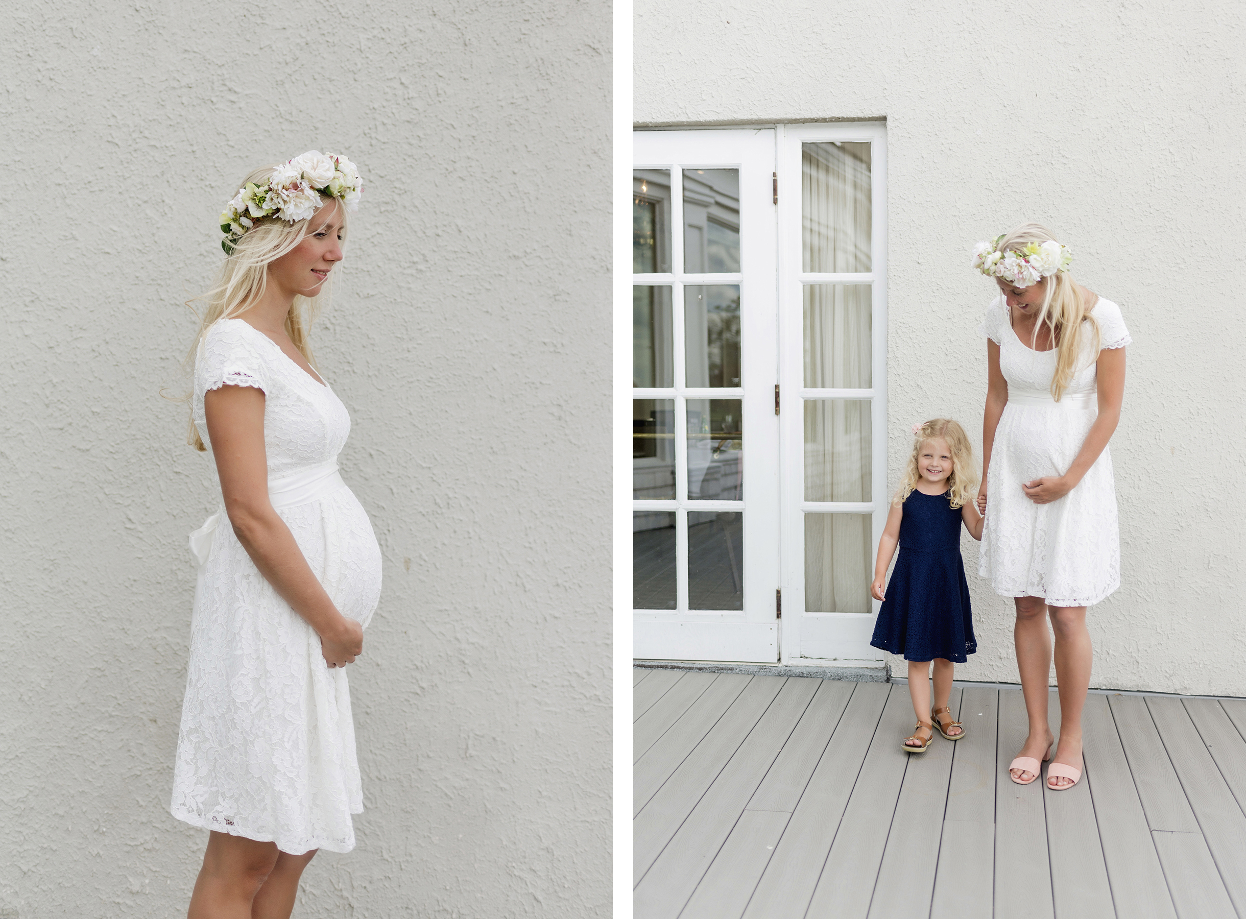 Maternity photoshoot with flower crown | A wild + boho baby shower with pastel colours + rustic details