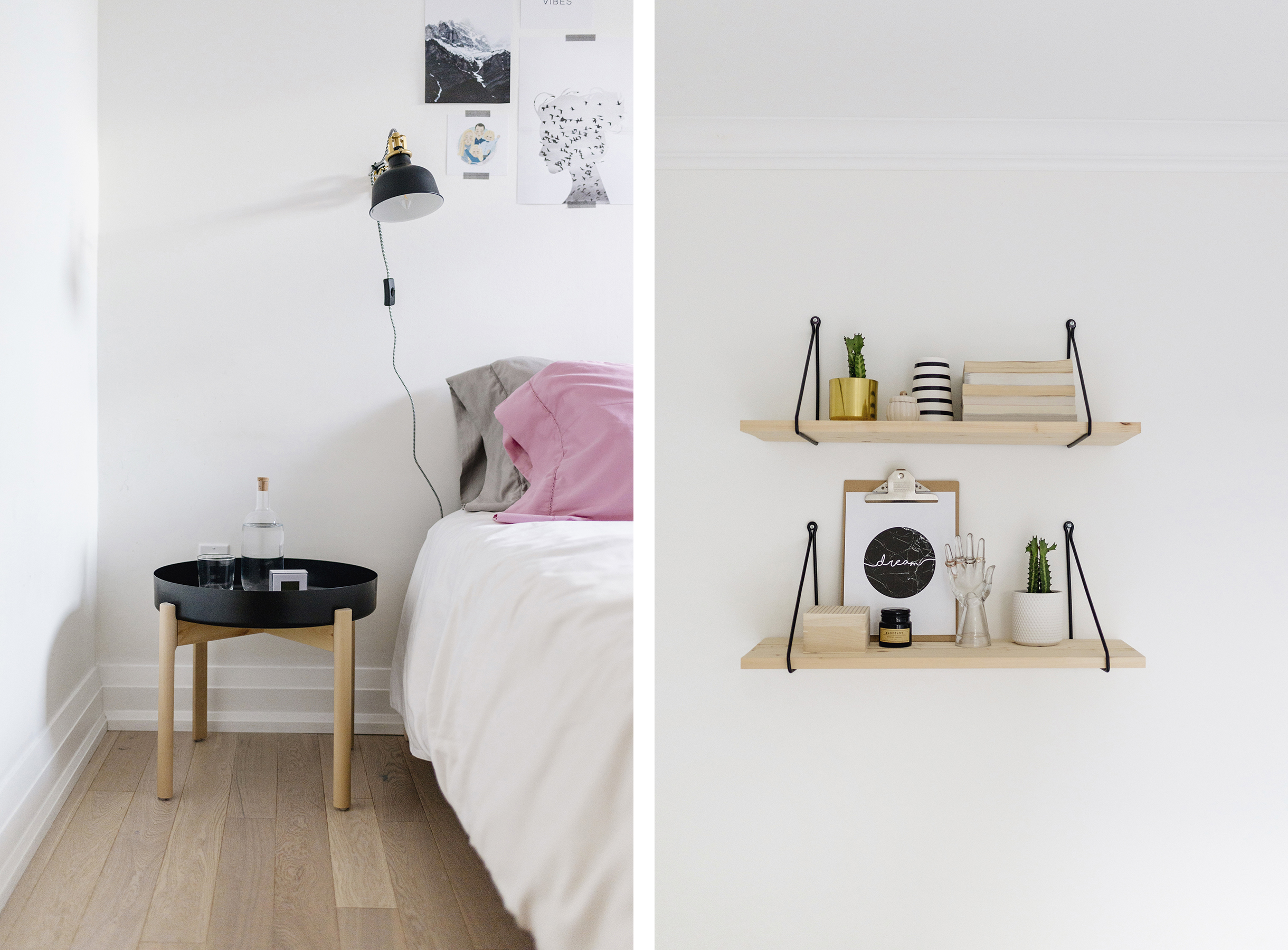... Scandinavian Inspired Bedroom | White, Grey + Pink