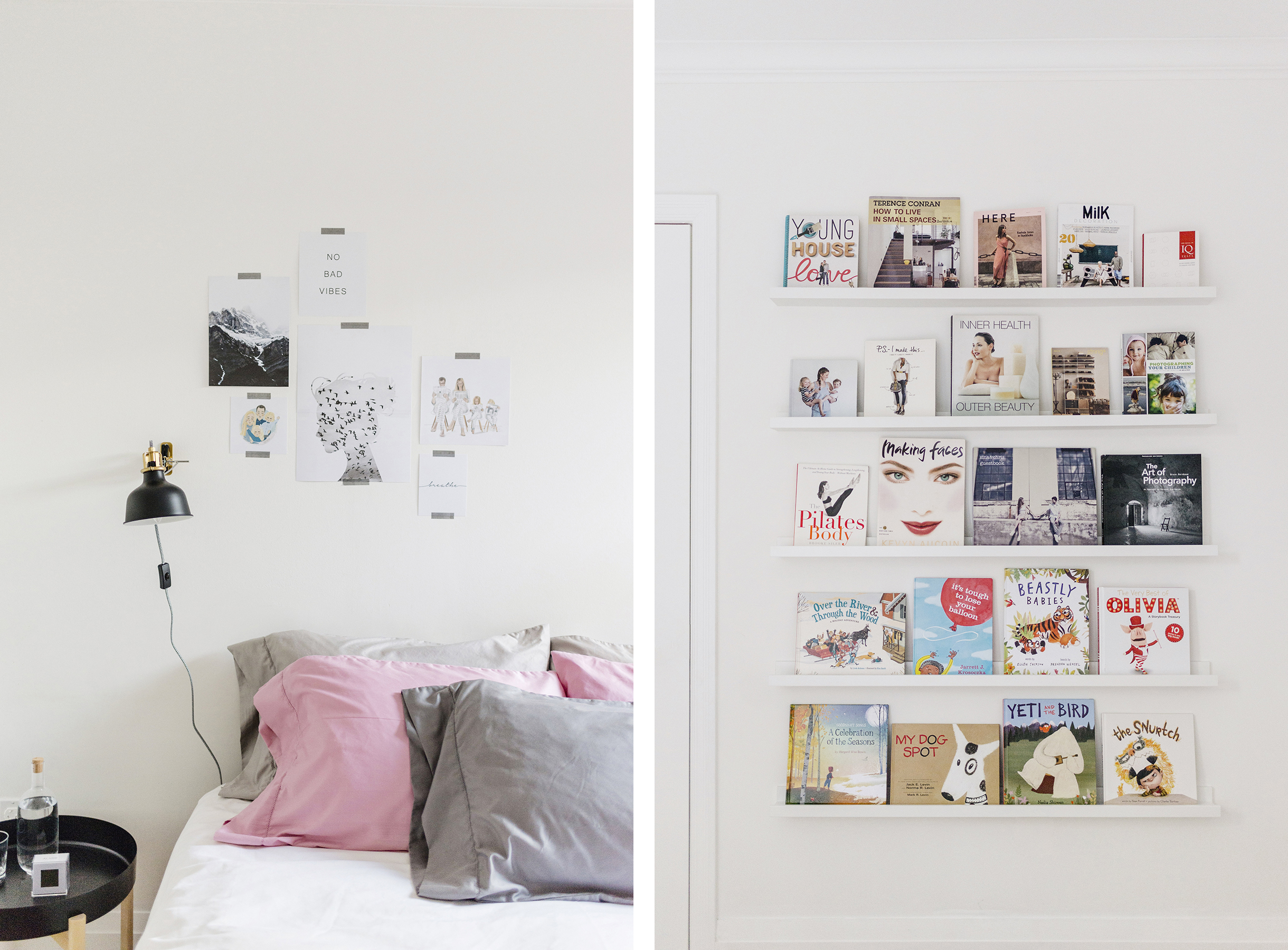Modern, Scandinavian-inspired bedroom | white, grey + pink
