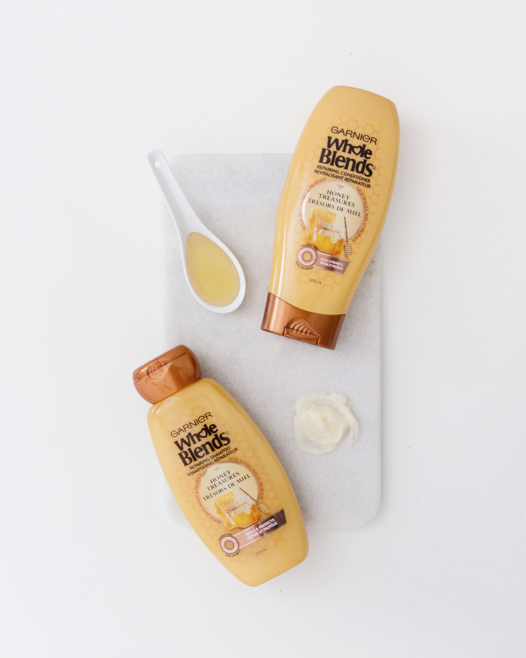 Natural haircare tips for busy moms with Garnier Whole Blends honey | Happy Grey Lucky