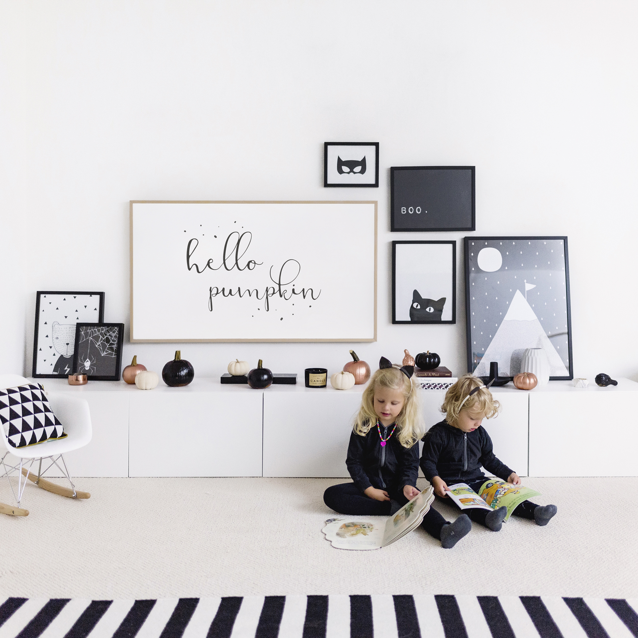 Modern, minimalist + Scandinavian-inspired halloween decor