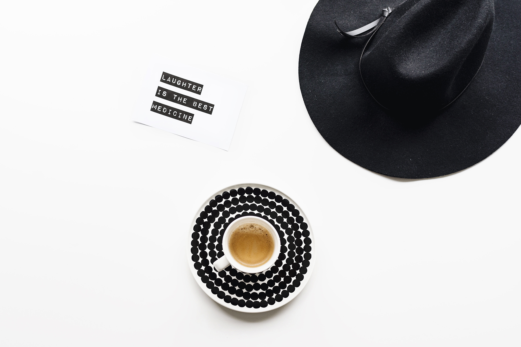 Laughter is the best medicine - coffee flatlay | Happy Grey Lucky